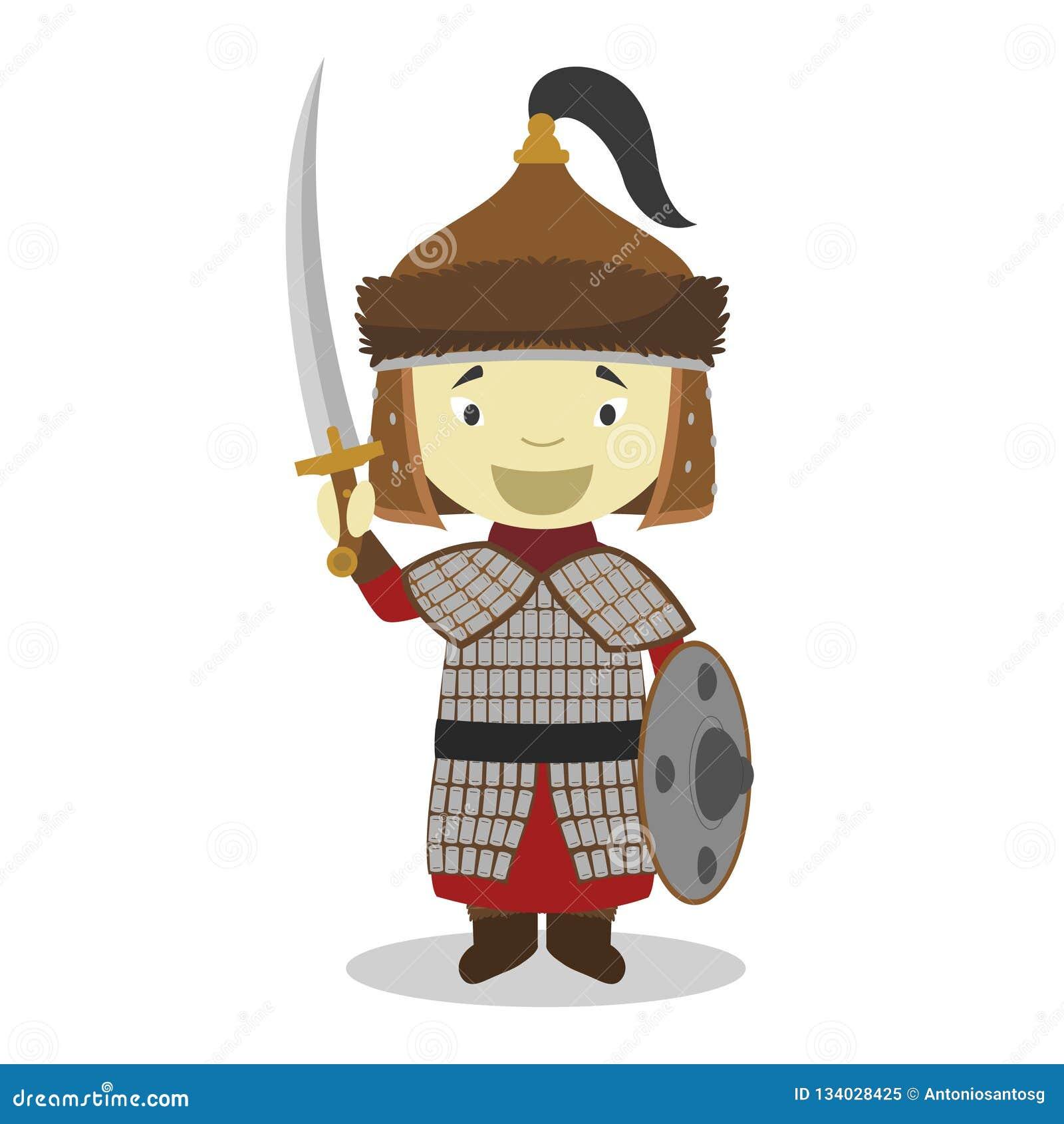 Personnage de dessin animé mongol de guerrier Illustration de vecteur