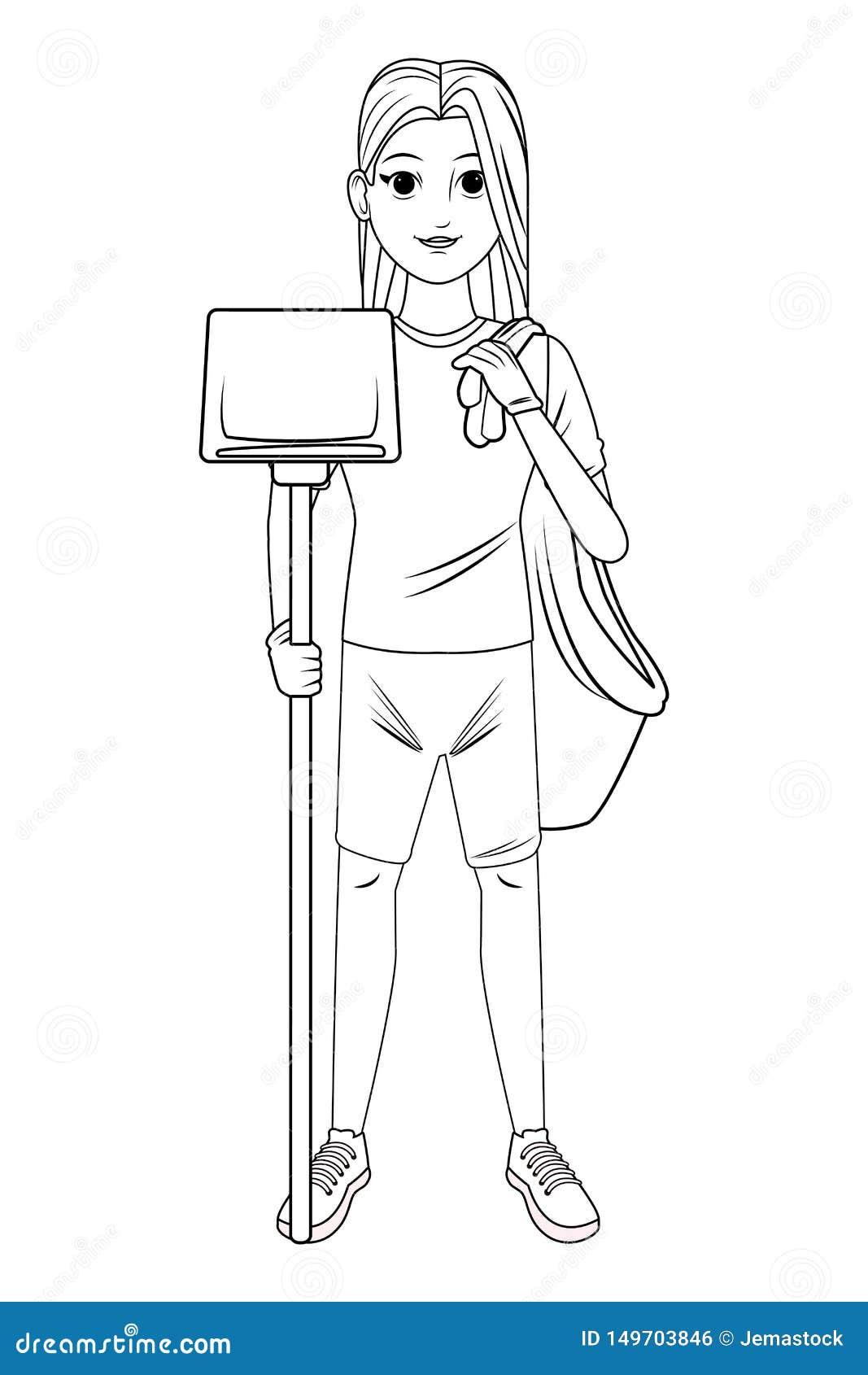 Personnage De Dessin Animé De Nettoyage Davatar De Personne