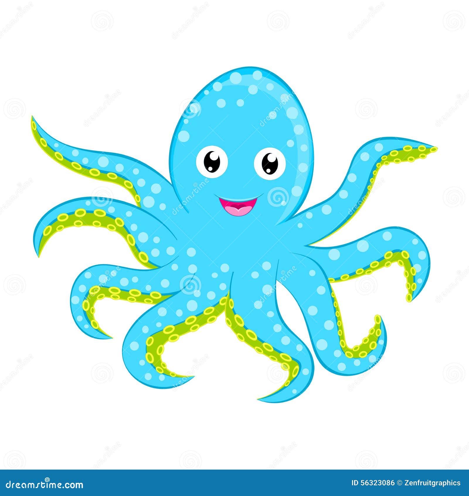 Personnage de dessin animé repéré par bleu cyan mignon de vecteur de poulpe de bébé d isolement sur l animal blanc d océan de fon