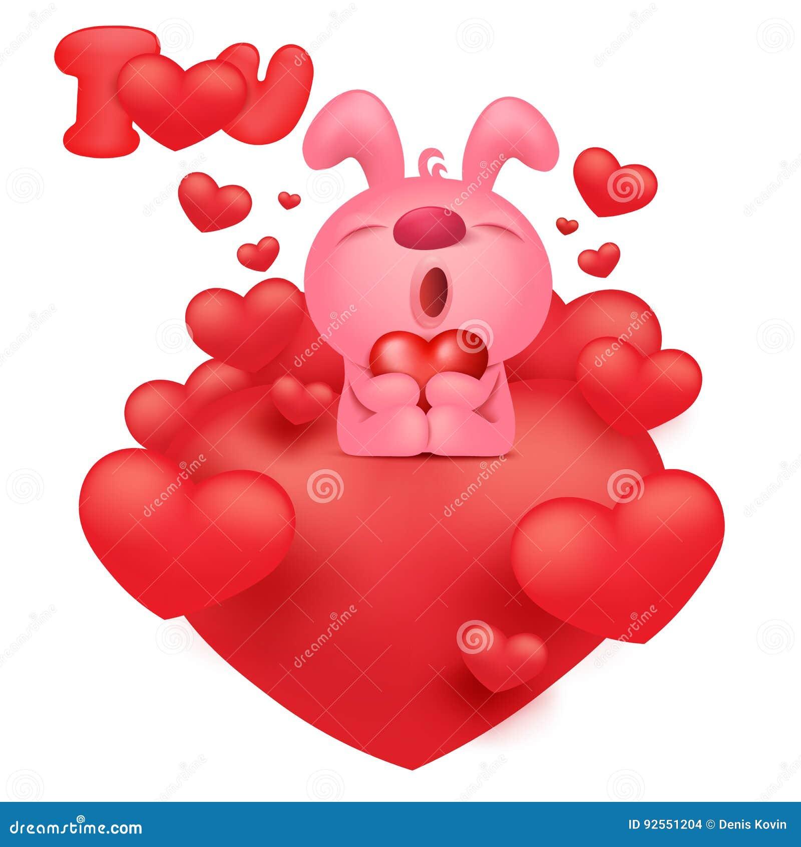 Personnage de dessin anim rose d 39 motic ne de lapin avec - Dessin avec emoticone ...