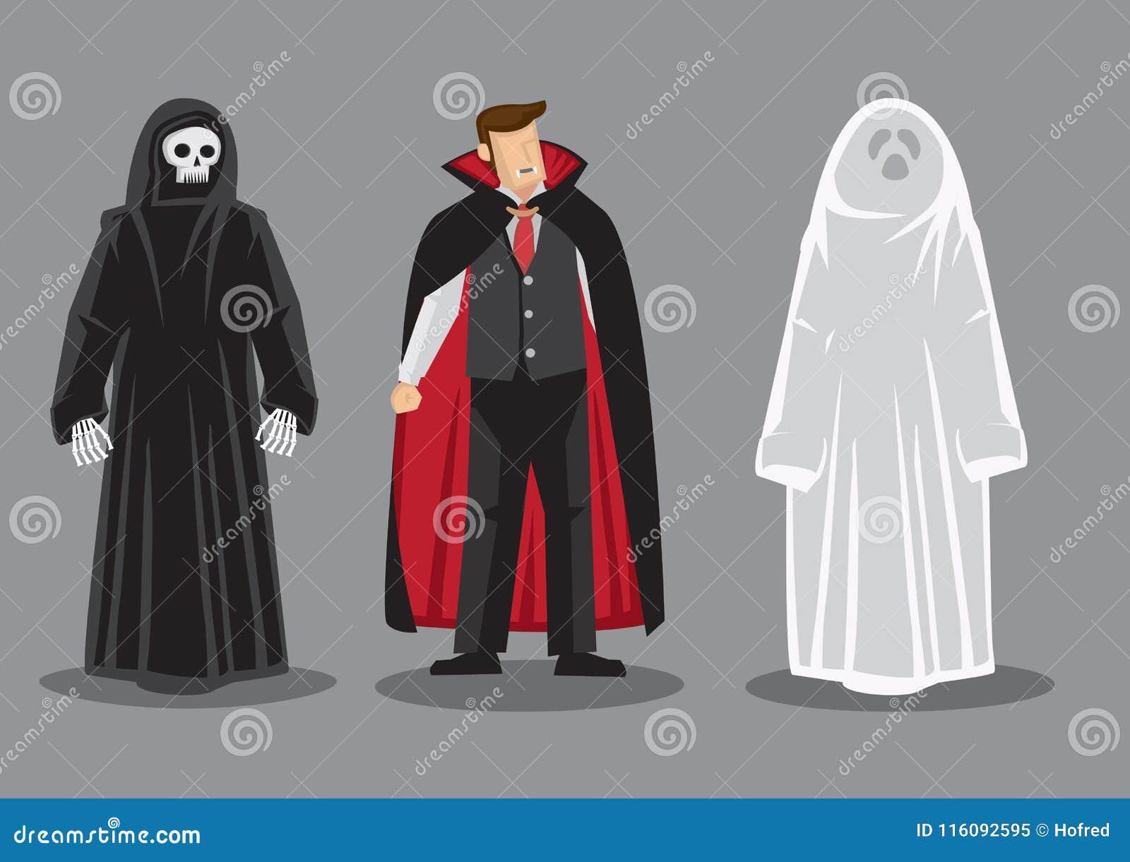 Personnage de dessin animé de vecteur dans des costumes de Halloween d horreur