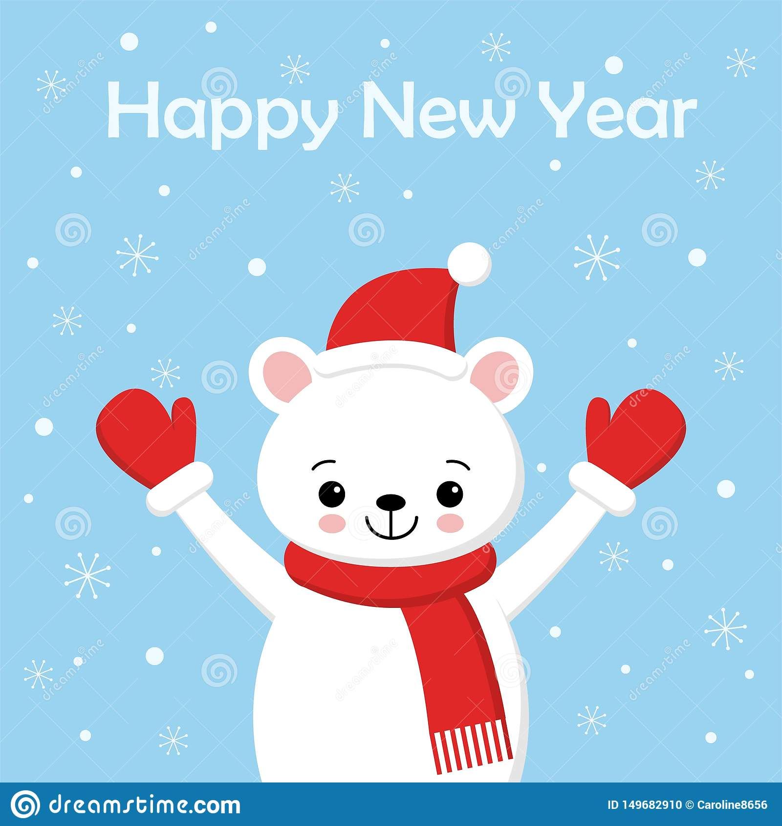 Personnage de dessin anim? d ours blanc Un ours blanc mignon portant l illustration de vecteur de chapeau de Santa Claus pour la