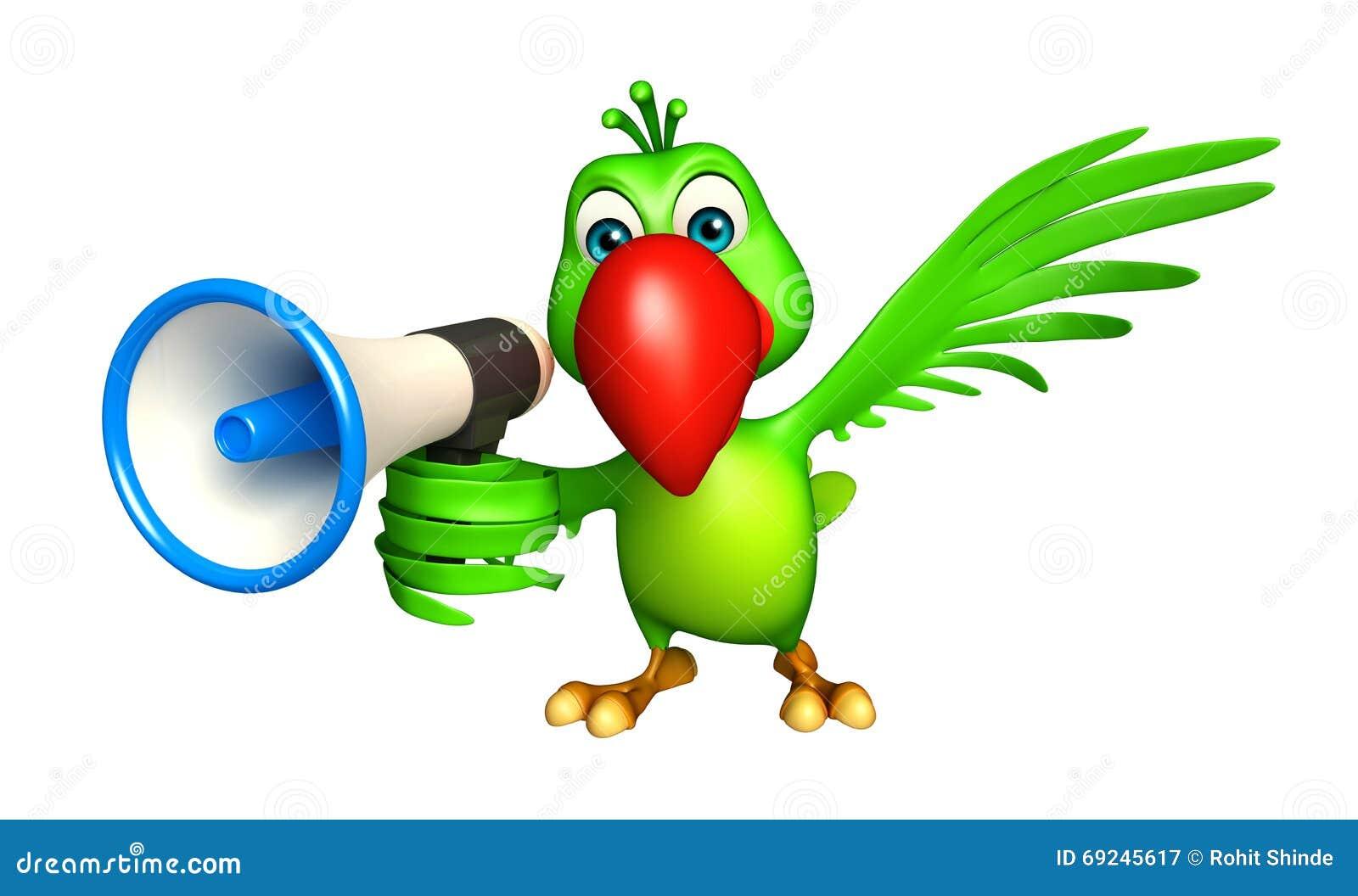 personnage de dessin anim de perroquet avec le haut parleur bruyant illustration stock image. Black Bedroom Furniture Sets. Home Design Ideas