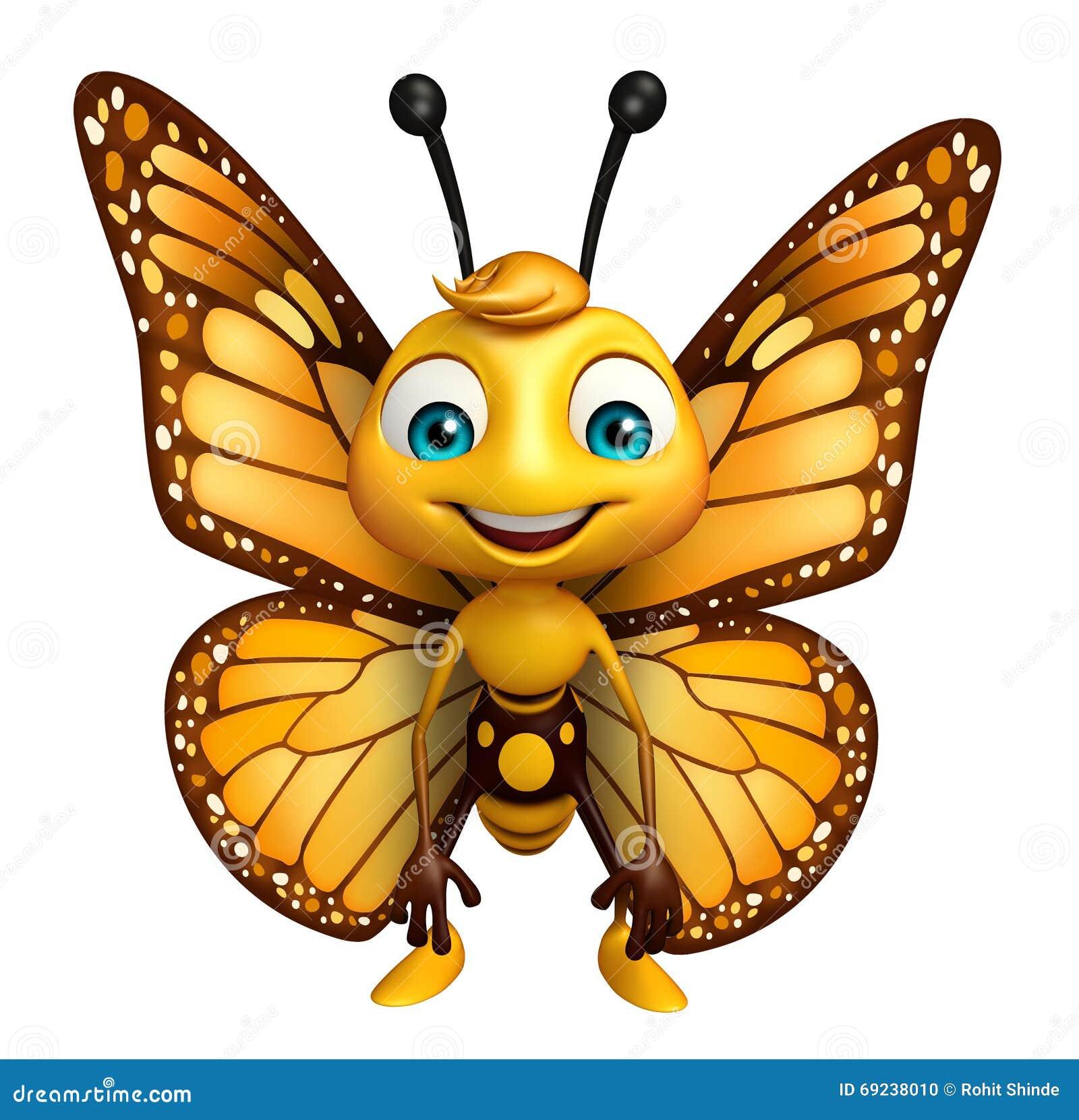 Personnage De Dessin Animé Drôle De Papillon Illustration Stock - Image: 69238010