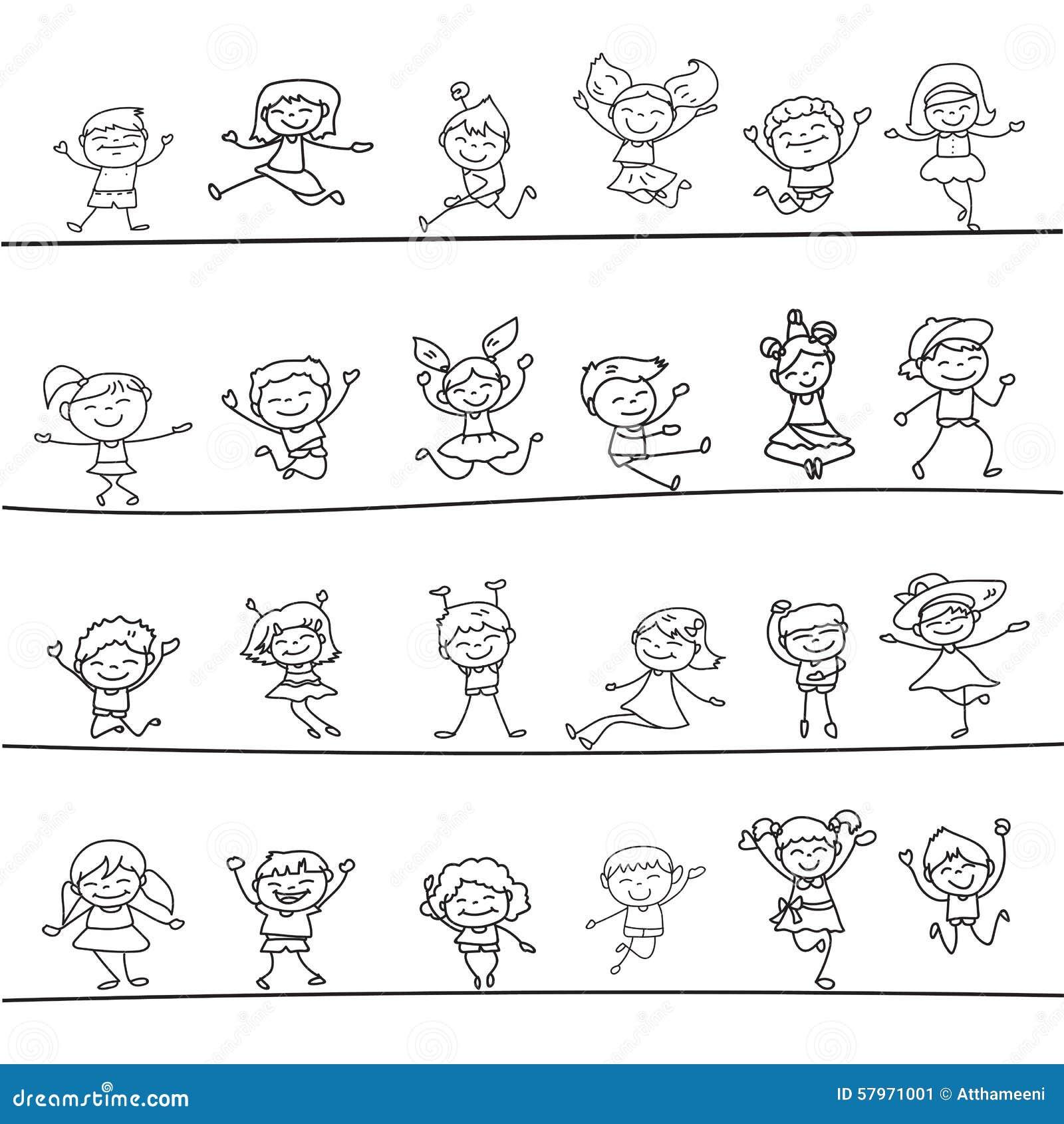 Personnage de dessin anim heureux de dessin de main d - Dessin main enfant ...