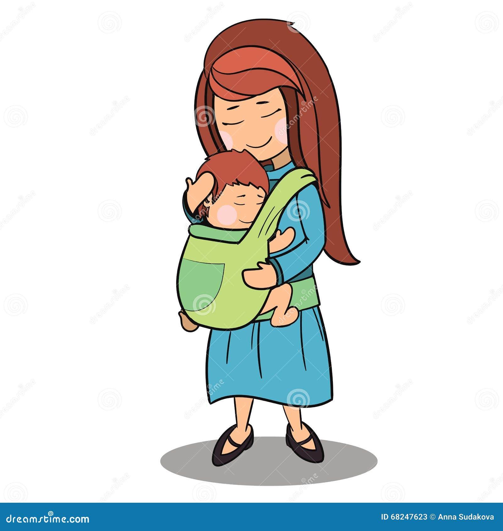 Personnages De Dessin Animé De Mère Et D Un Vecteur De Bébé