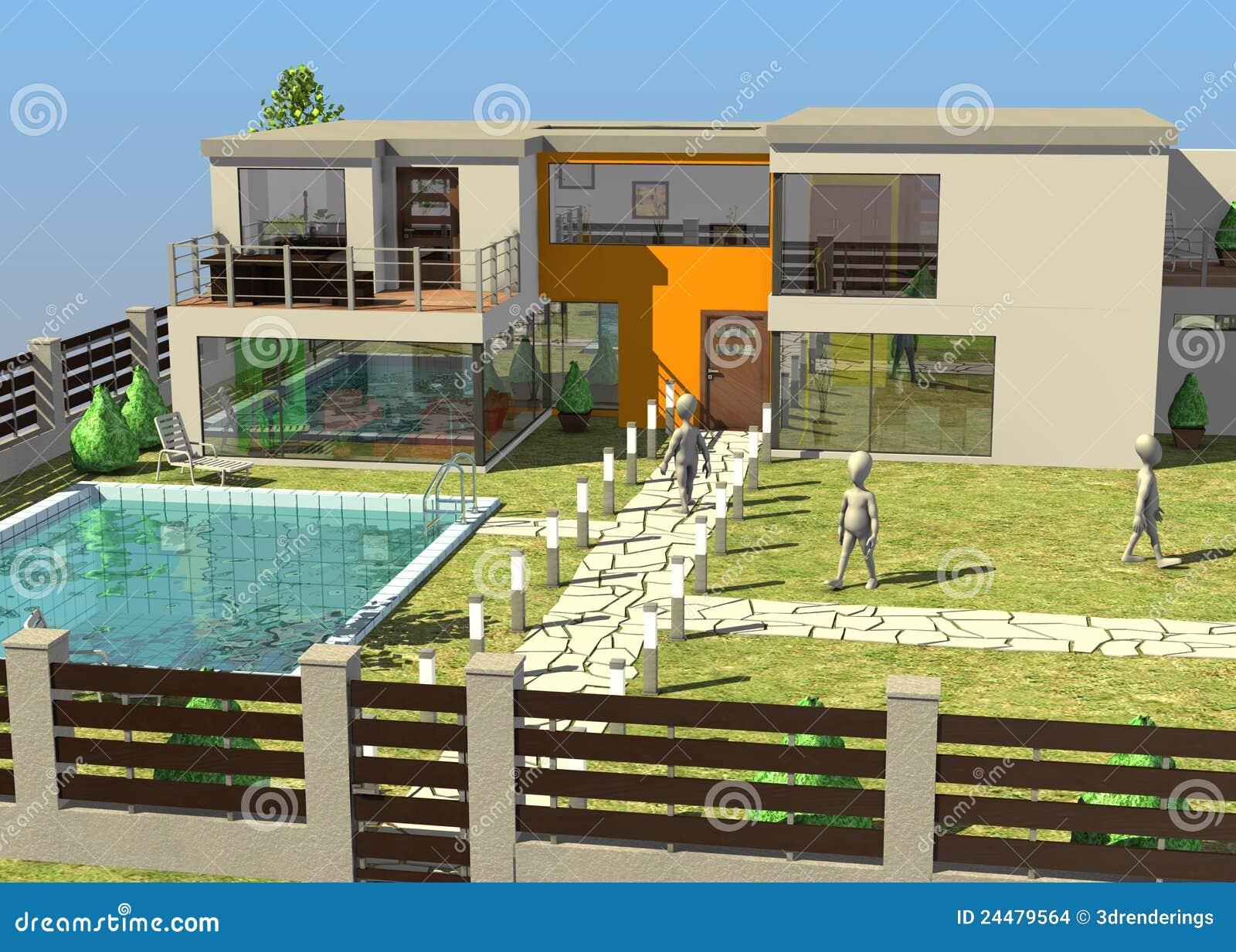 Personnages de dessin anim devant maison moderne illustration stock illustration du m le - Dessin de maison moderne ...