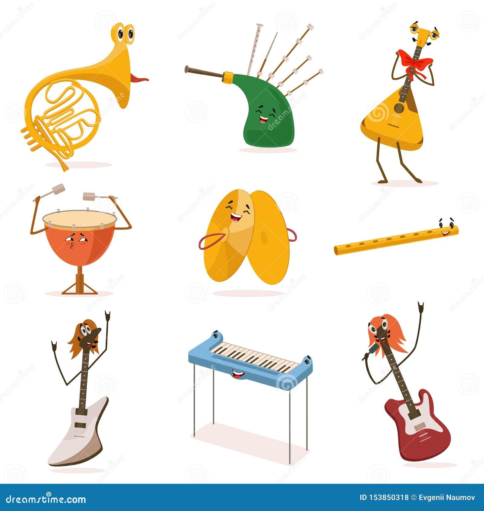 Personnages De Dessin Animé Drôles Dinstruments De Musique