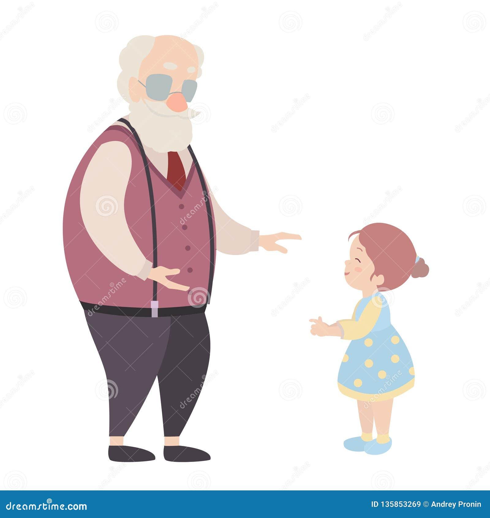 Personnages De Dessin Animé De Grand Père Et De Petite Fille