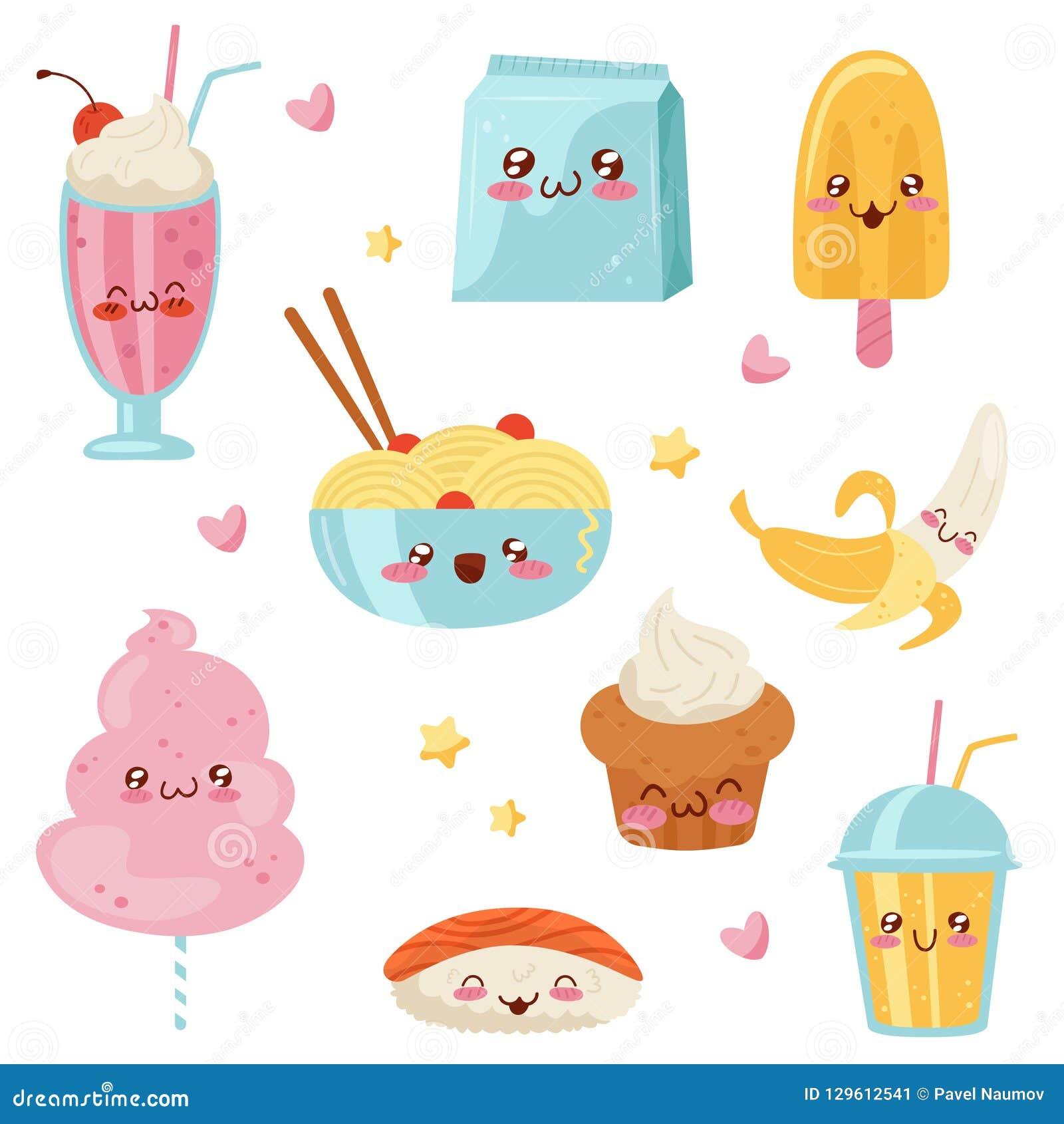 Personnages De Dessin Animé Mignons Ensemble Desserts Bonbons