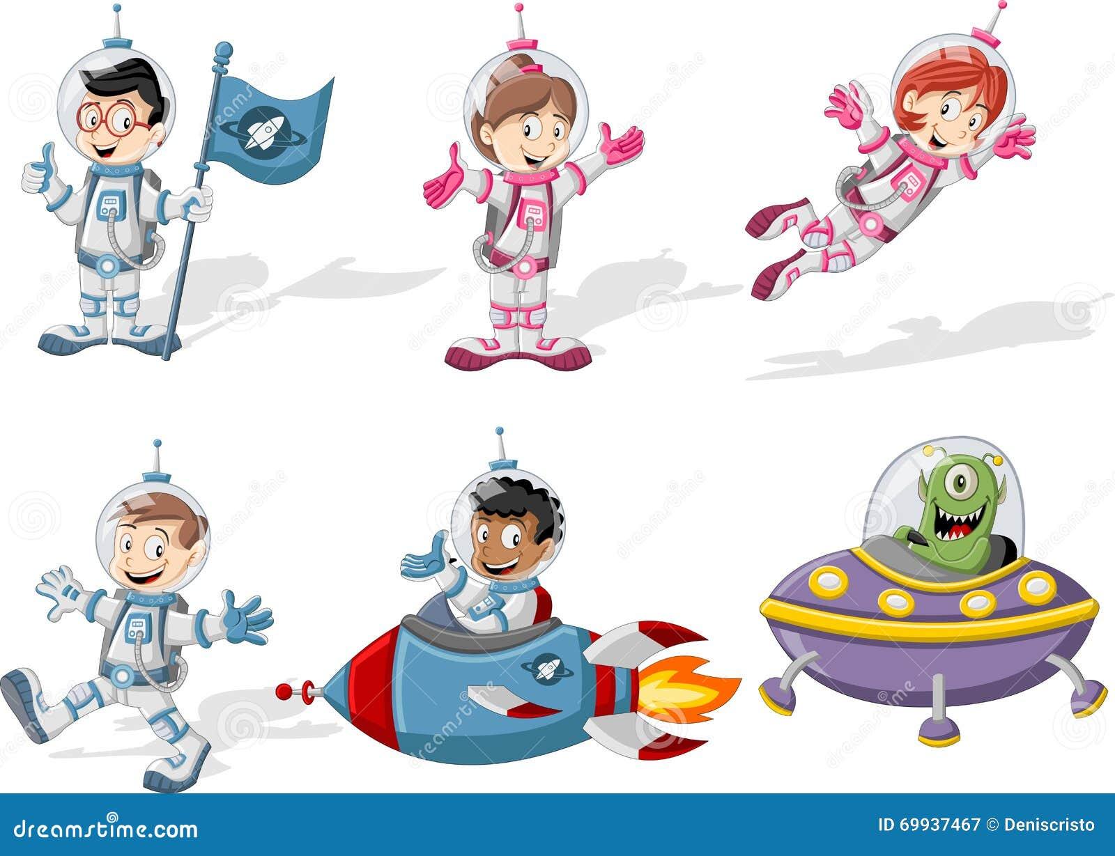 Personnages de dessin anim d 39 astronaute illustration de vecteur image 69937467 - Dessin d astronaute ...