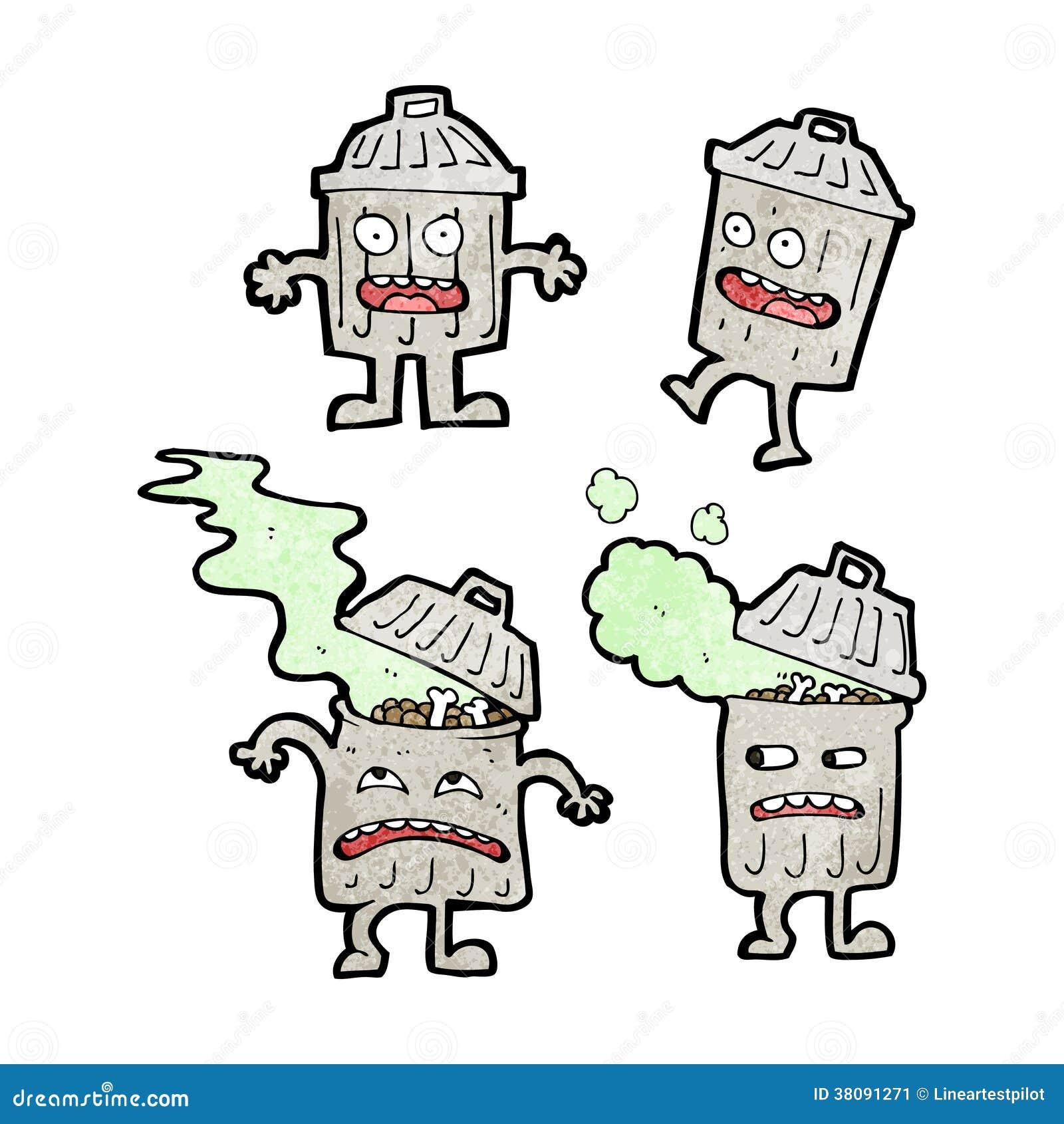 Personnages de dessin anim de poubelle de bande dessin e image stock image 38091271 - Dessin de poubelle ...