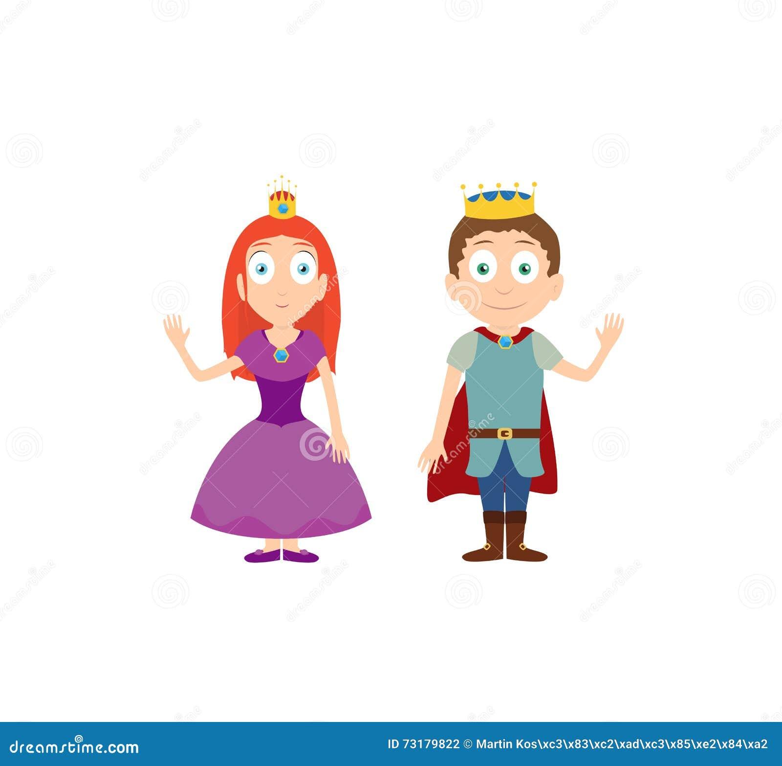 Personnages de dessin anim de princesse et de prince sur le blanc illustration de vecteur - Prince et princesse dessin ...
