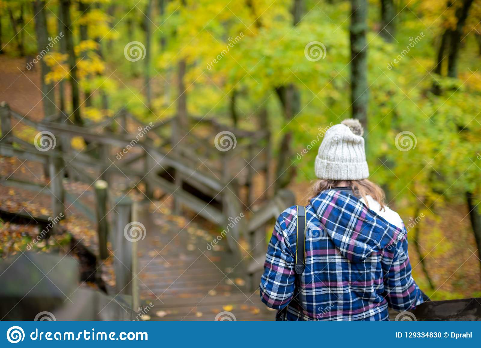 Personne avec l appareil-photo marchant en bois dans la chute