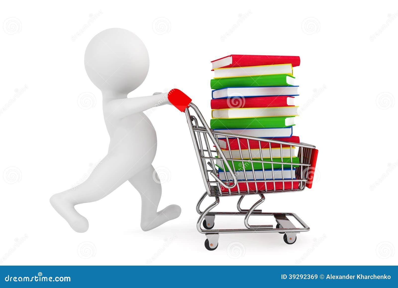 Personne 3d poussant le caddie avec des livres