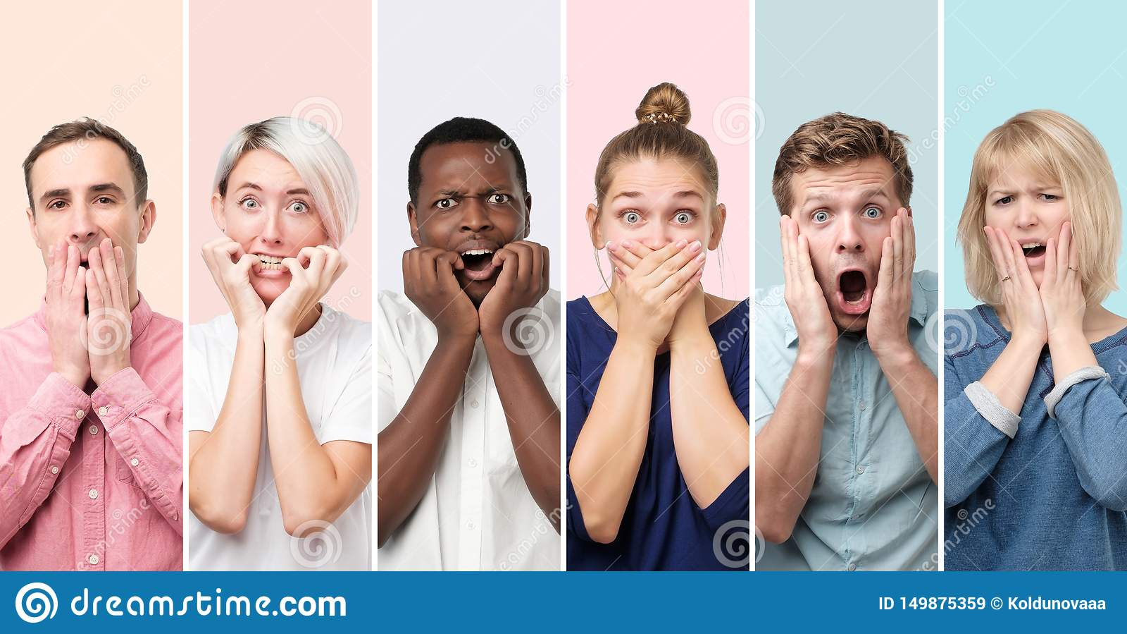 Personnes étonnées et étonnées recevant des nouvelles inattendues choquantes