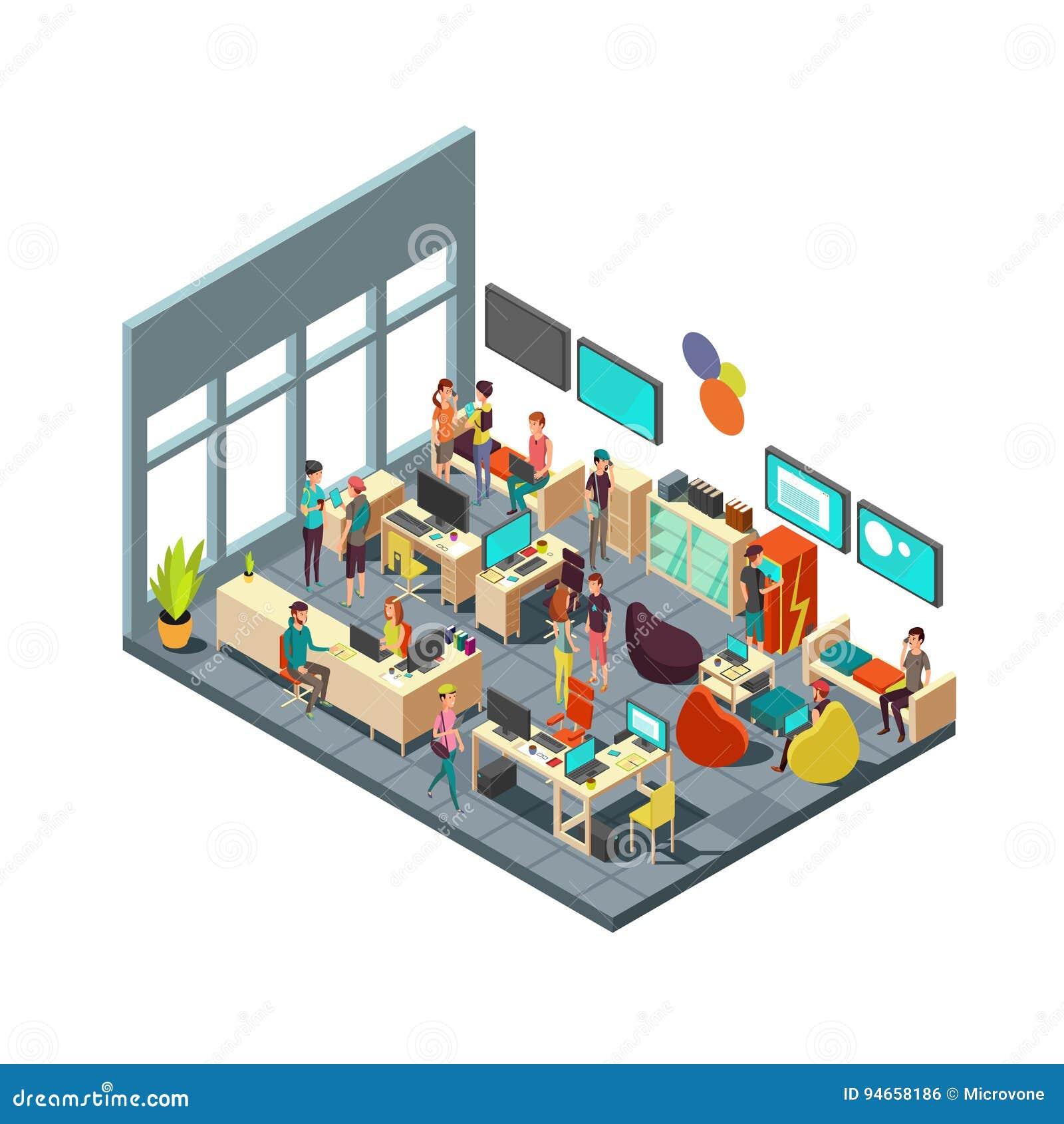 Personnes créatives décontractées se réunissant dans l intérieur de la chambre concept isométrique de vecteur coworking 3d et de