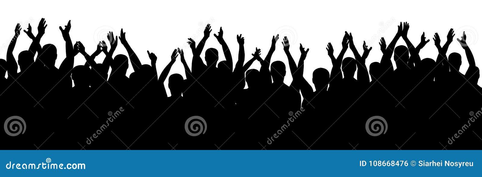 Personnes d applaudissements Encourager gai de foule Mains vers le haut Vecteur de silhouette