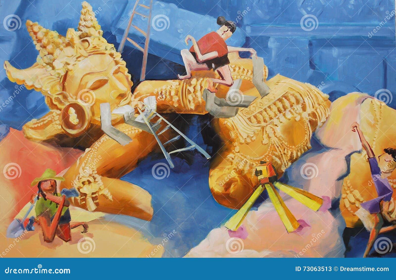 Personnes d art de concept de peinture à l huile le processus de la découverte