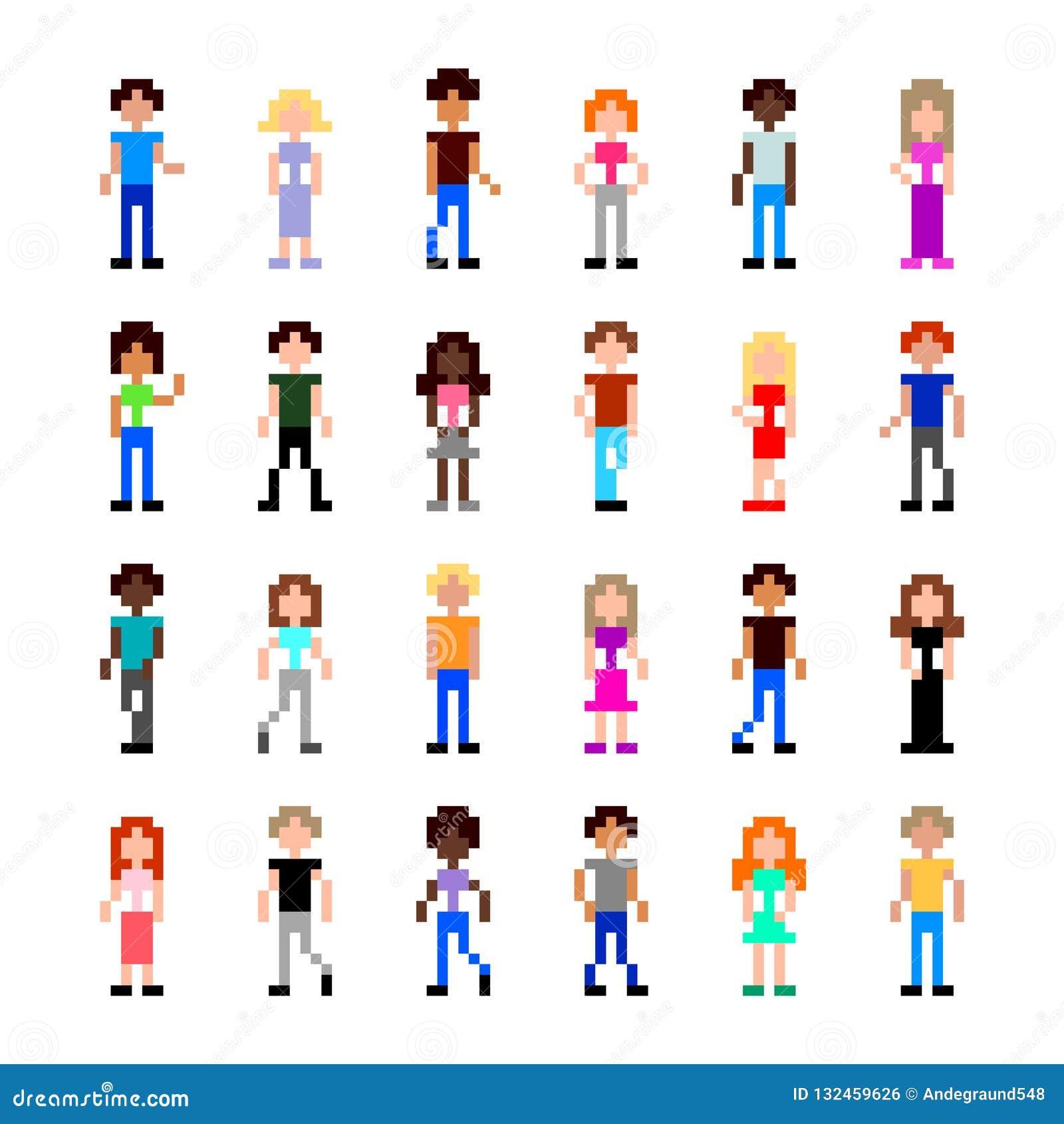 Personnes de pixel pour le vecteur d isolement par illustration détaillée d ensemble de jeu