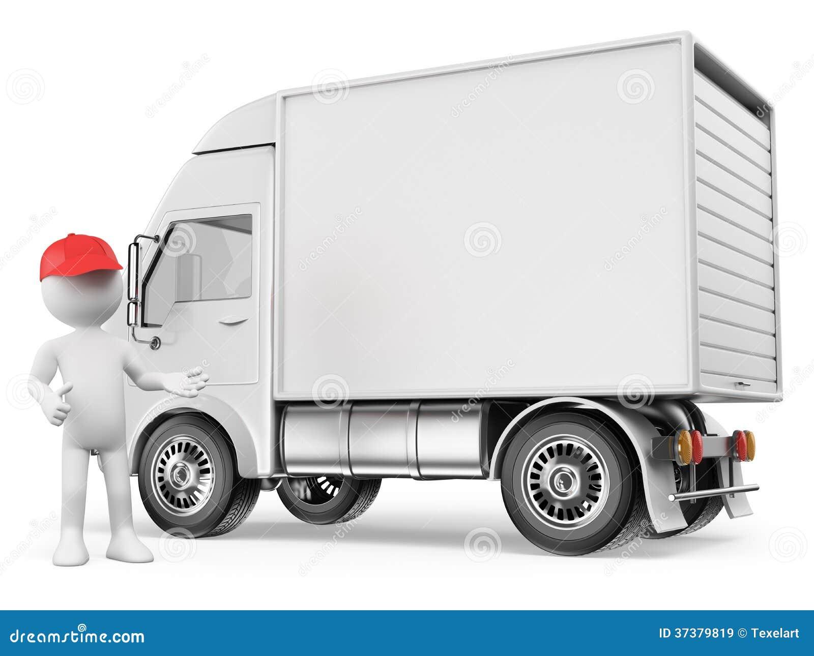 personnes de race blanche 3d camion de livraison blanc illustration stock illustration du. Black Bedroom Furniture Sets. Home Design Ideas