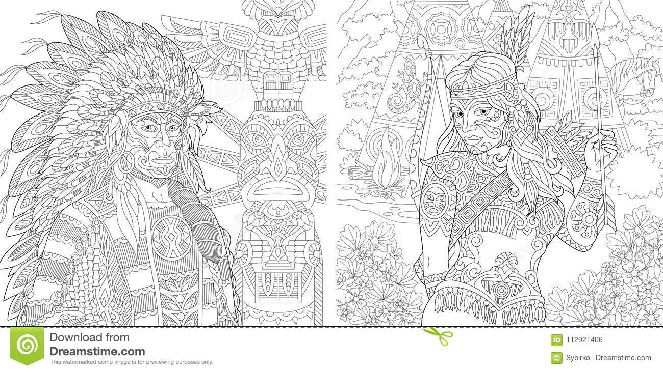 Personnes Indiennes Indigènes De Zentangle Illustration De
