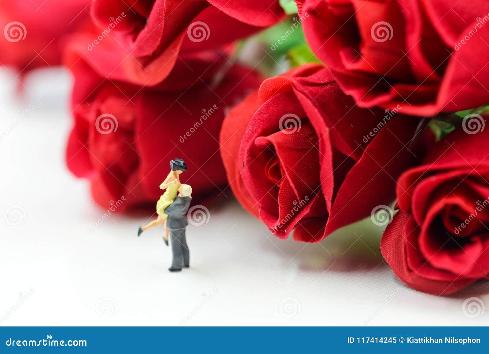 Personnes Miniatures Couples De L Amour Avec La Rose L Amant Ou