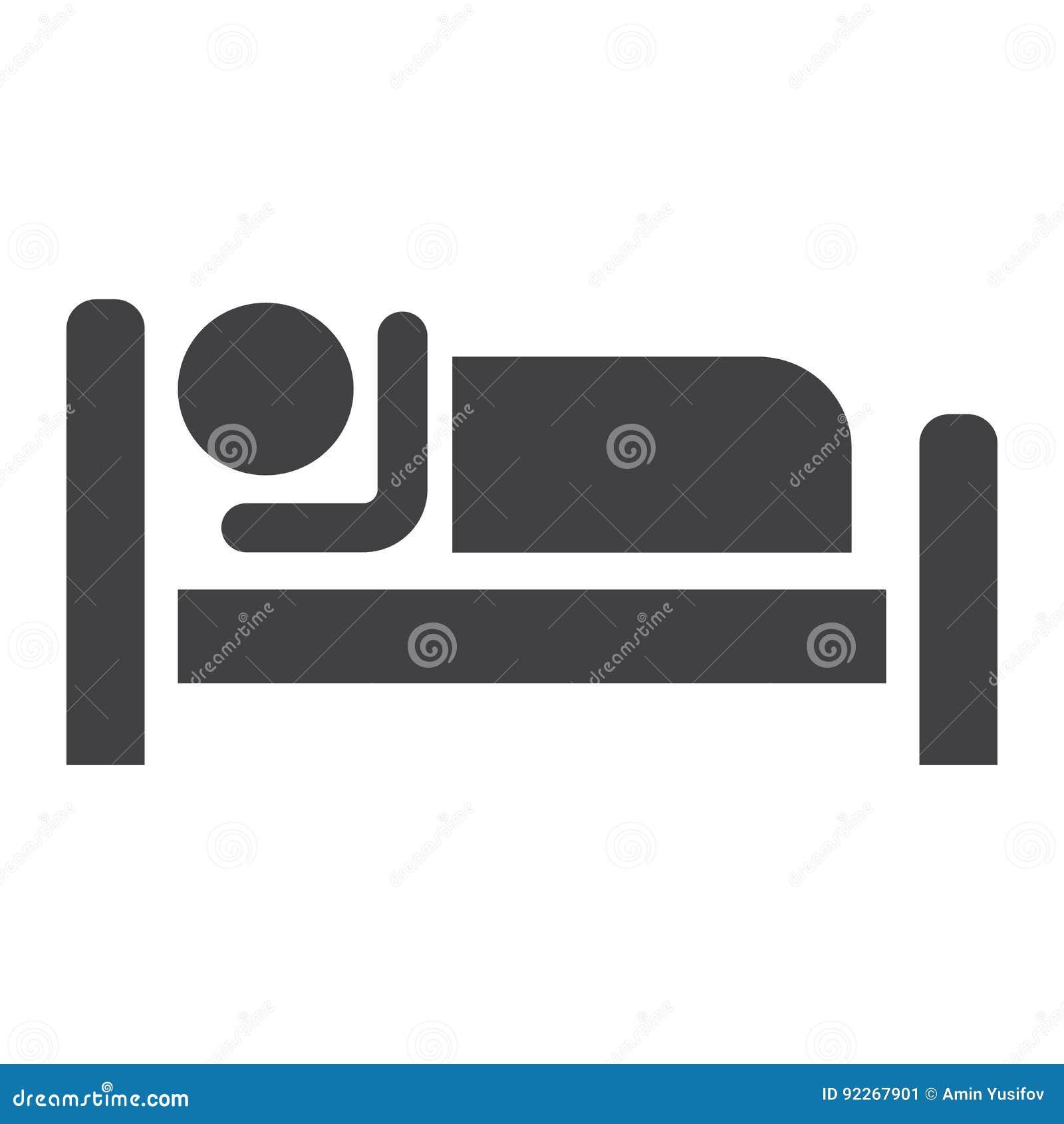 Persoon in bed en Hotel stevig pictogram