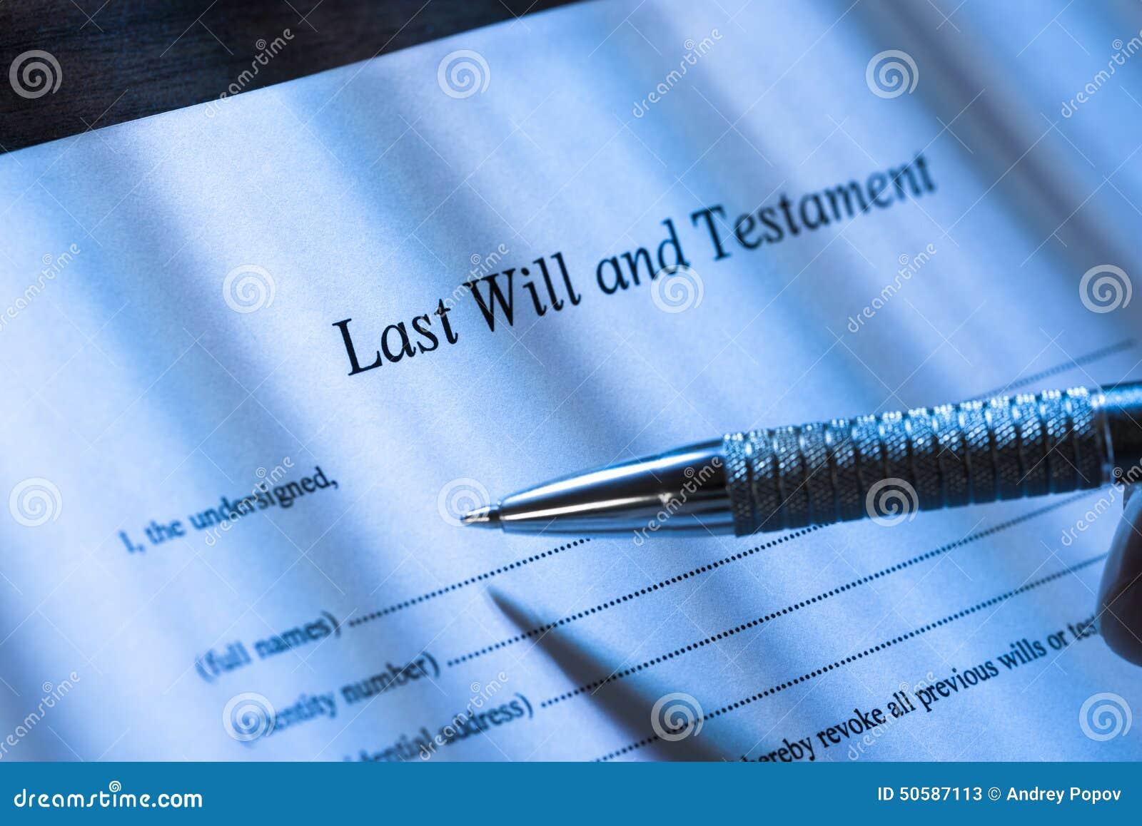 Persoon het schrijven het laatst zal en testament