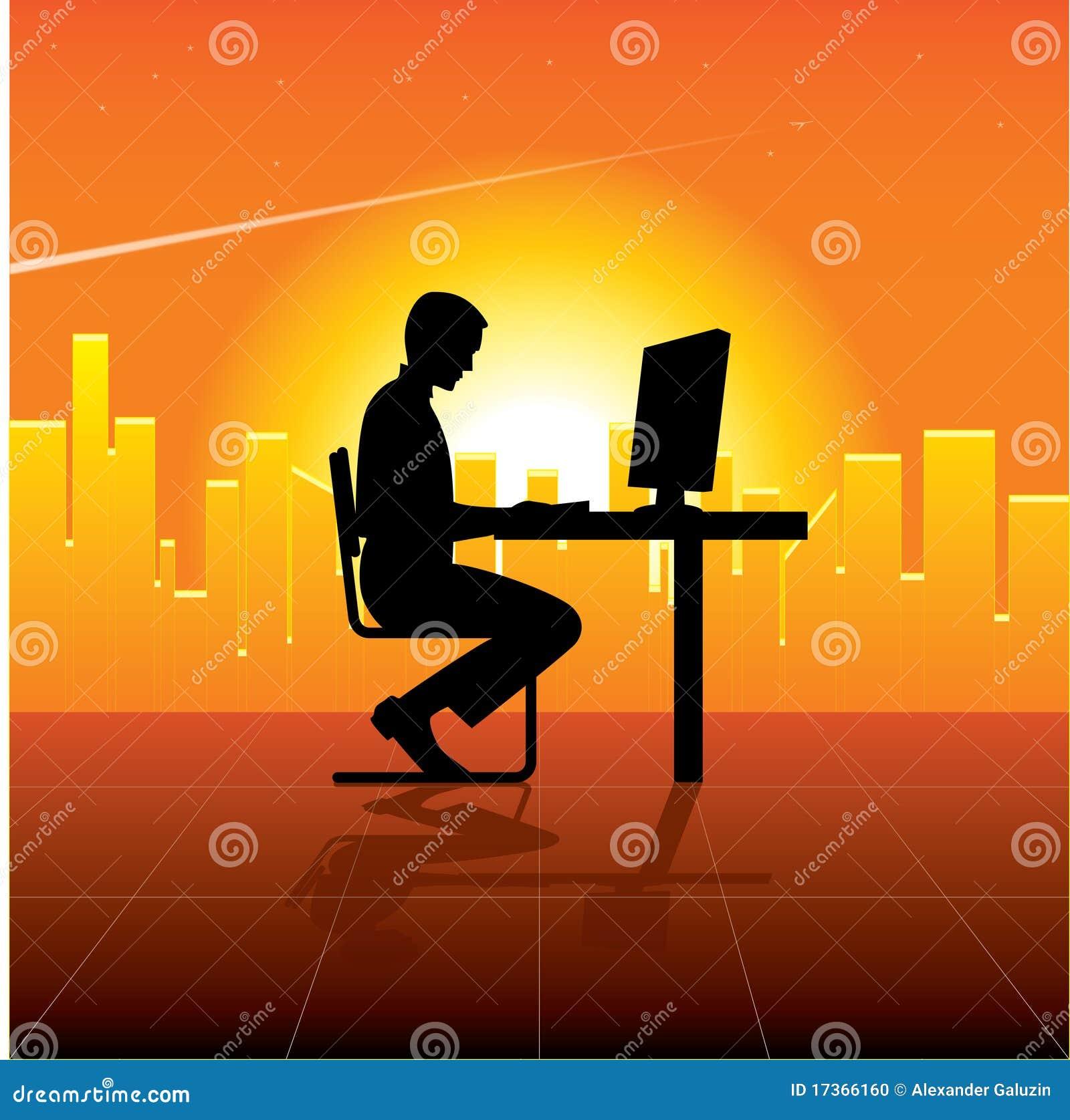 Persoon met computer in stad
