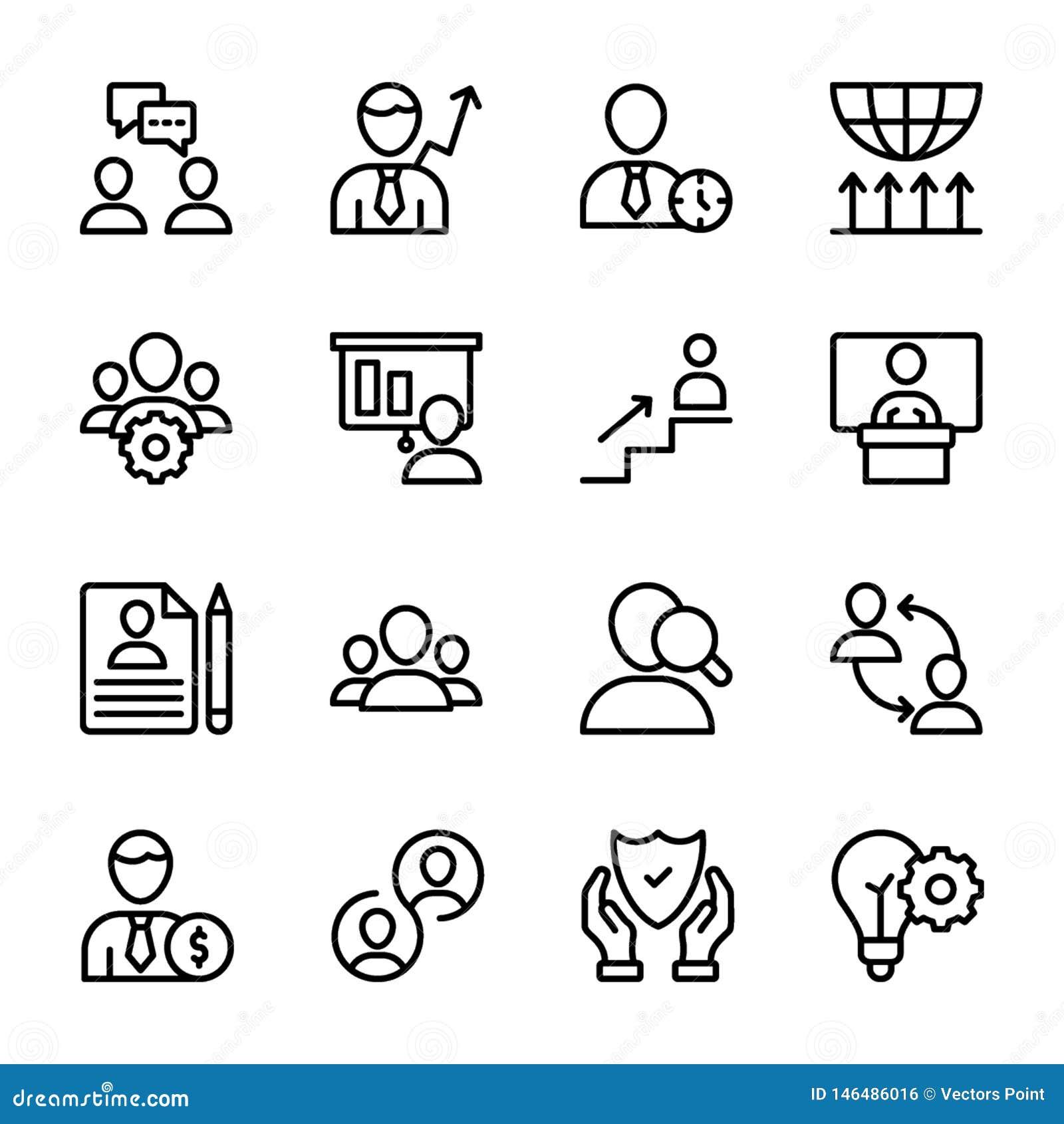 Persoonlijke Kwaliteit, de Lijnpictogrammen van het Werknemersbeheer