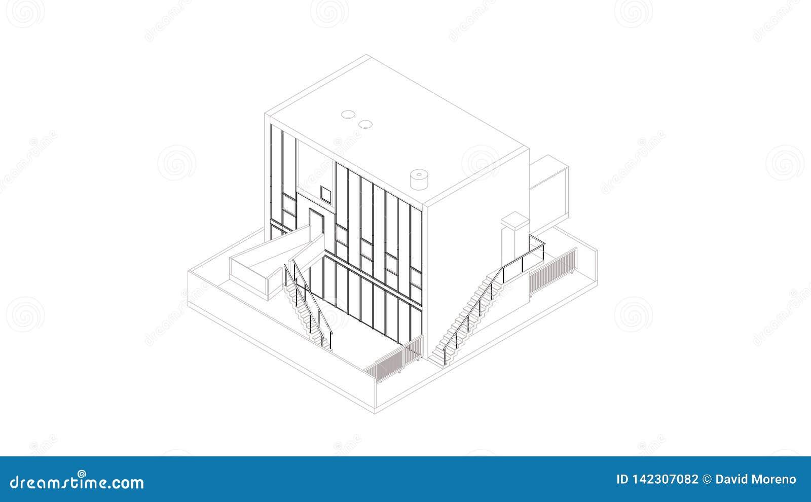 Perspectiva abstracta del wireframe del edificio 3D