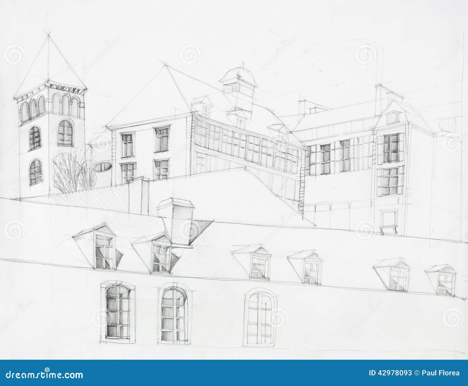 Perspectiva Arquitectónica De La Mansión Vieja Imagen De Archivo