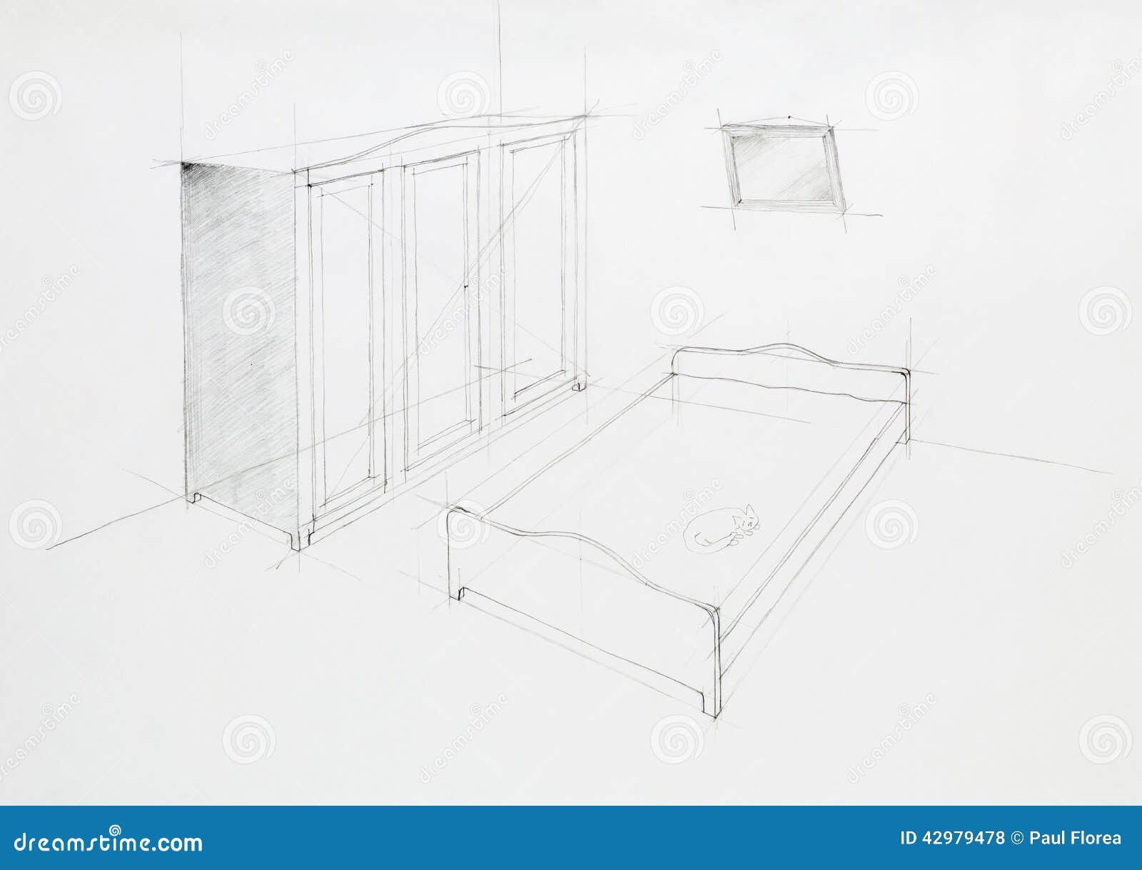Perspectiva Arquitectónica Del Dormitorio Stock de ilustración - Imagen: 42979478
