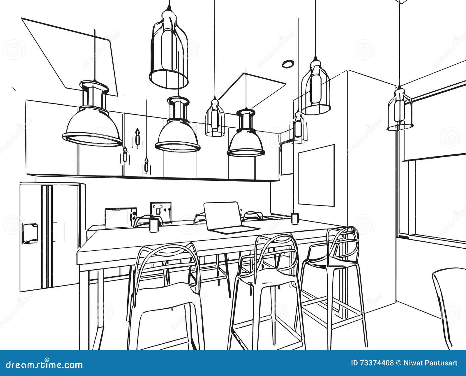 Perspectiva interior del dibujo de bosquejo del esquema de la casa ilustraci n del vector - Sala da pranzo dwg ...