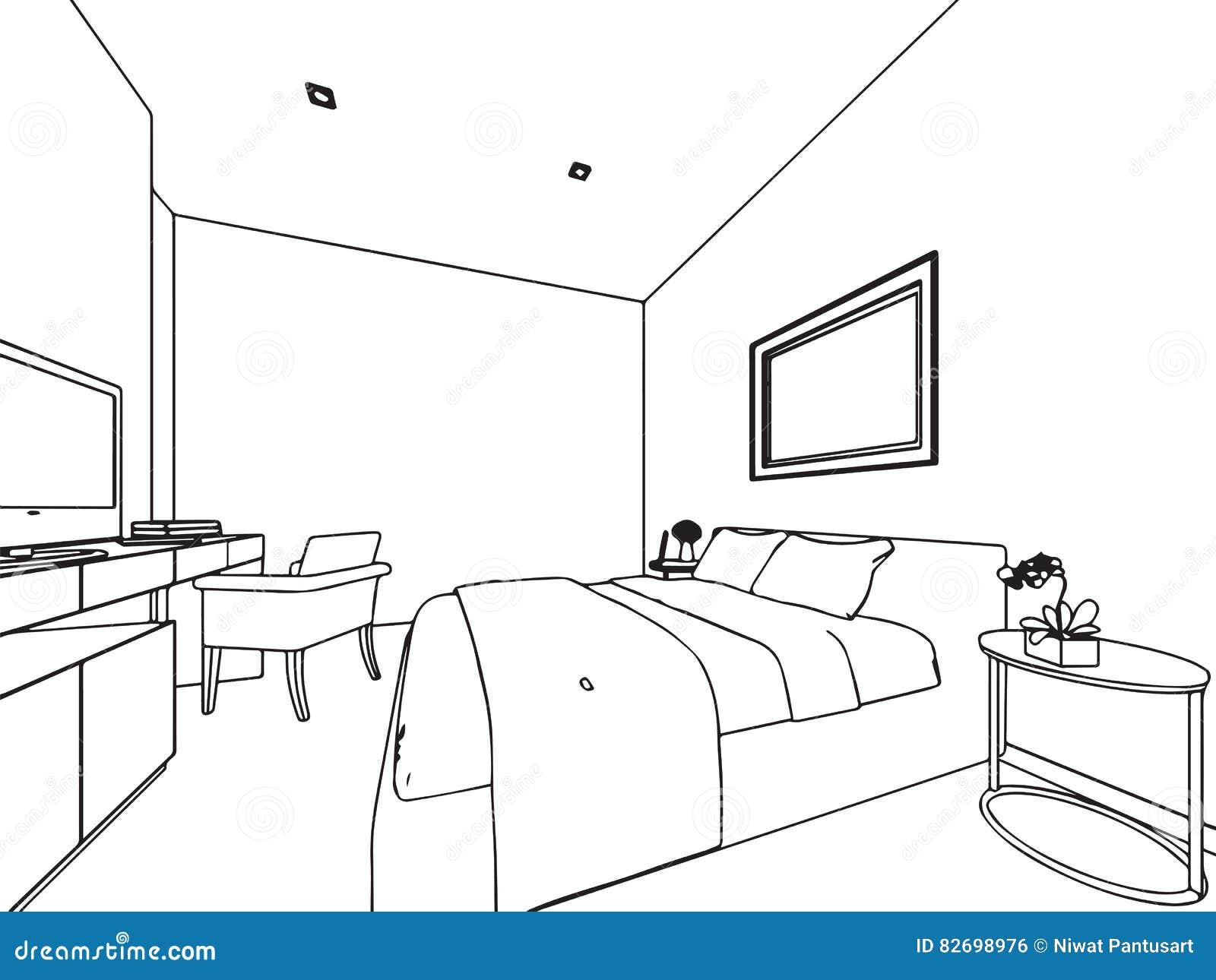 Perspectiva Interior Del Dibujo De Bosquejo Del Esquema De La Casa