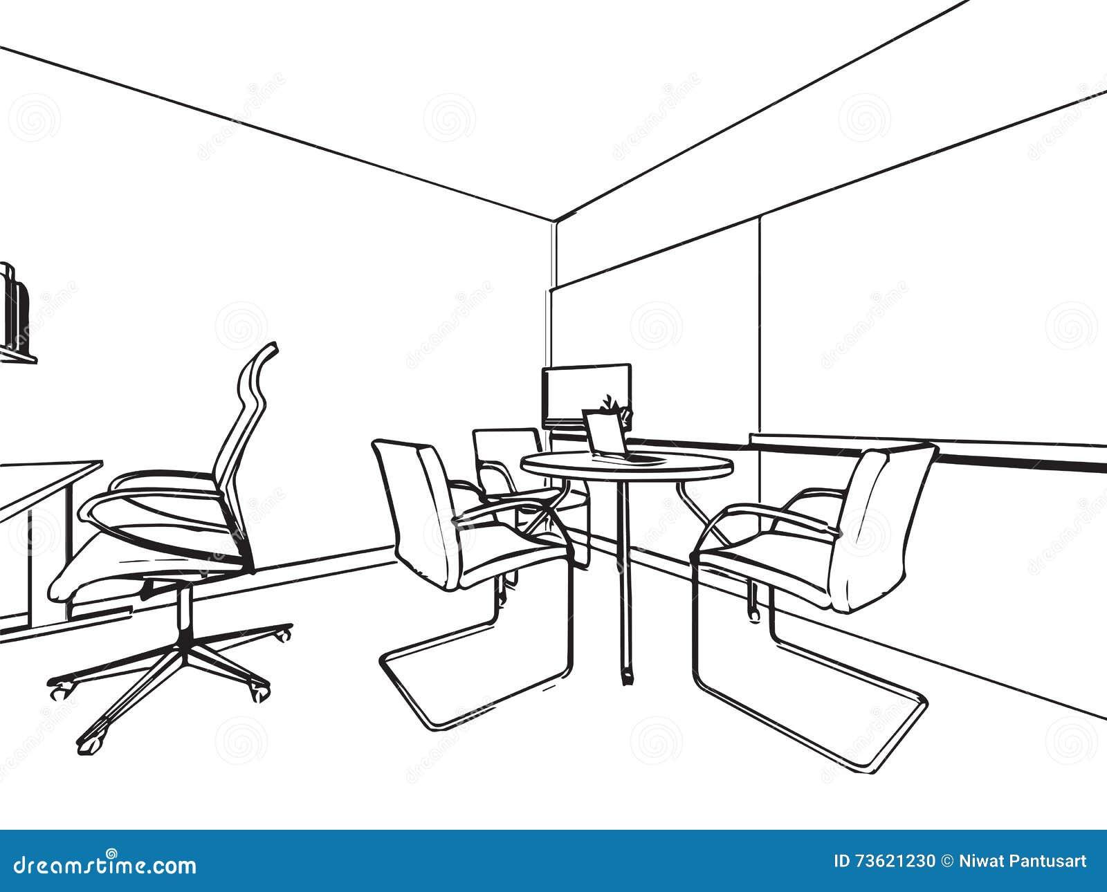 Perspectiva Interior Del Dibujo De Bosquejo Del Esquema De Una