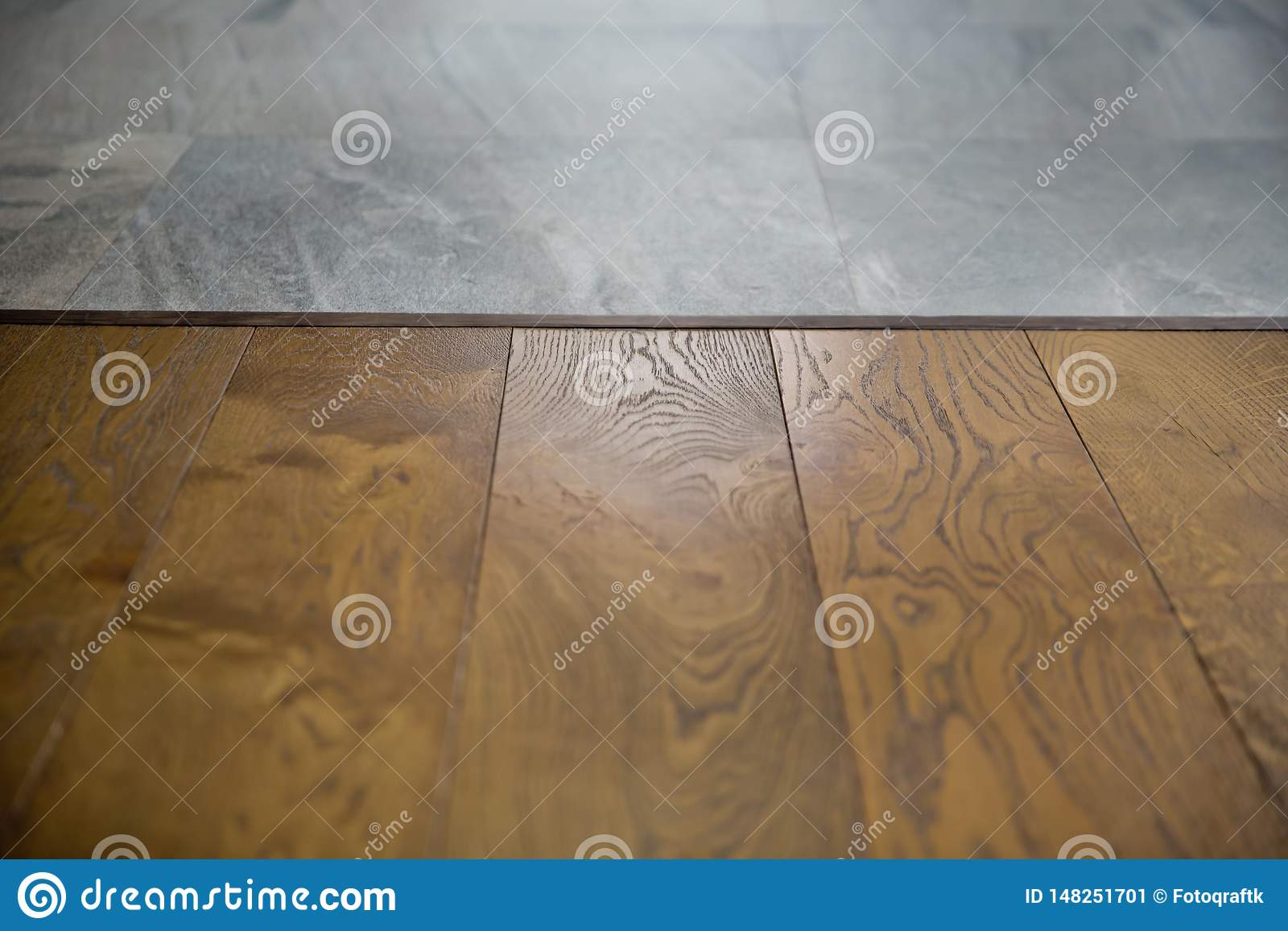 Perspective brown wood over blur in coffee shop - can be used for display or montage your products.Mock up for display of product