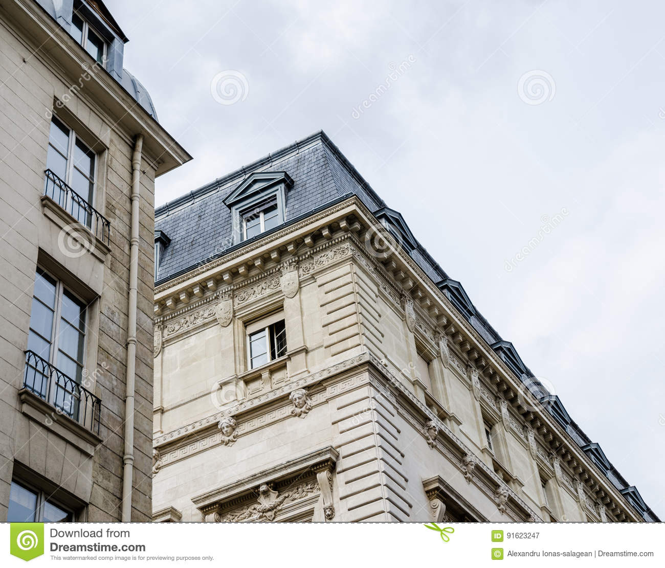 perspective of classic french buildings in paris stock image imageclose perspective view of generic buildings in paris, france, with beautiful balconets and attics with dormer windows typical of french architecture