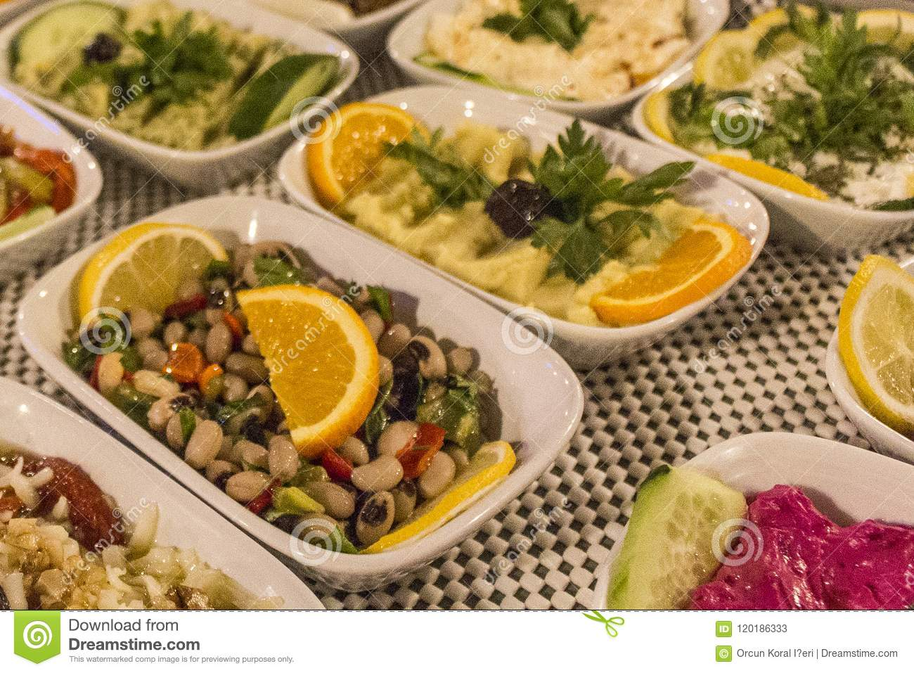 Perspective Close Up Shot Of Traditional Tasty Appetizers For Turkish Drink Of Raki In Night Dinner At Izmir In Turkey Stock Image Image Of Background Greek 120186333