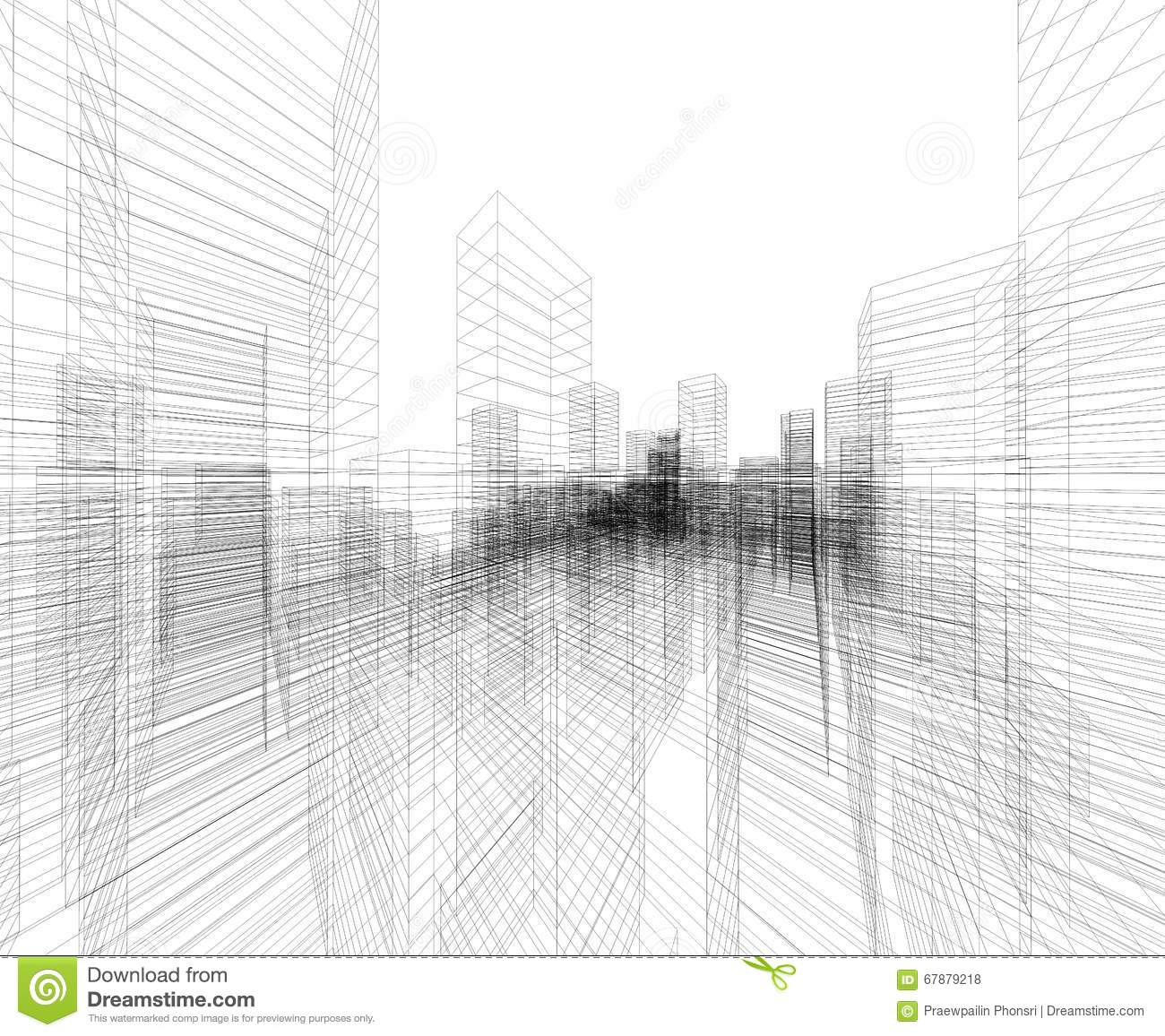 perspective 3d render of building wireframe stock illustration