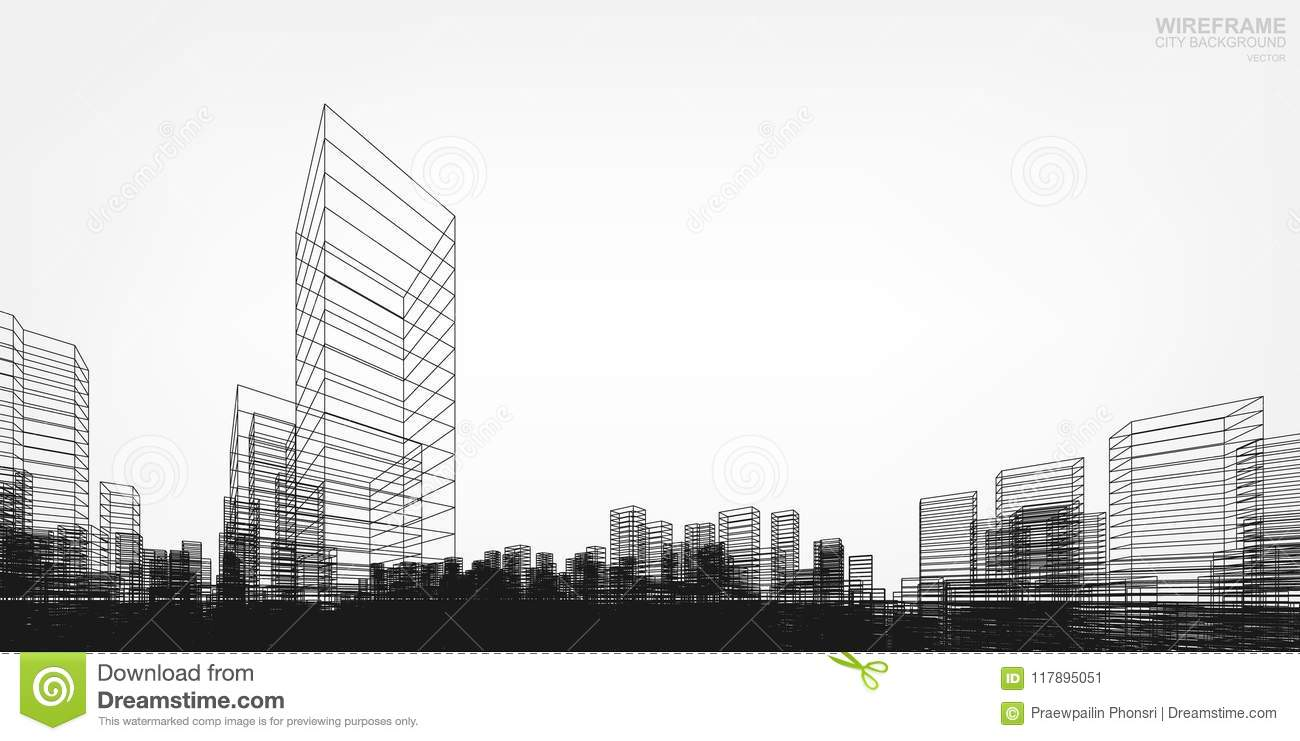 perspective 3d render of building wireframe vector stock vector