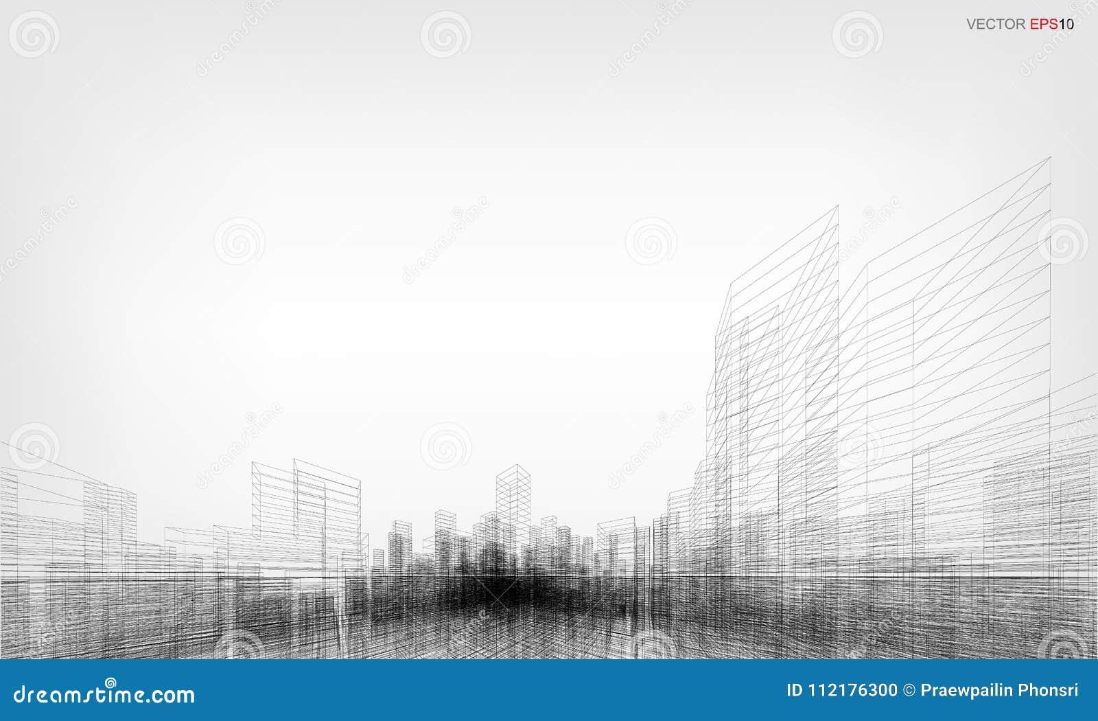 perspective 3d render of building wireframe vector illustration