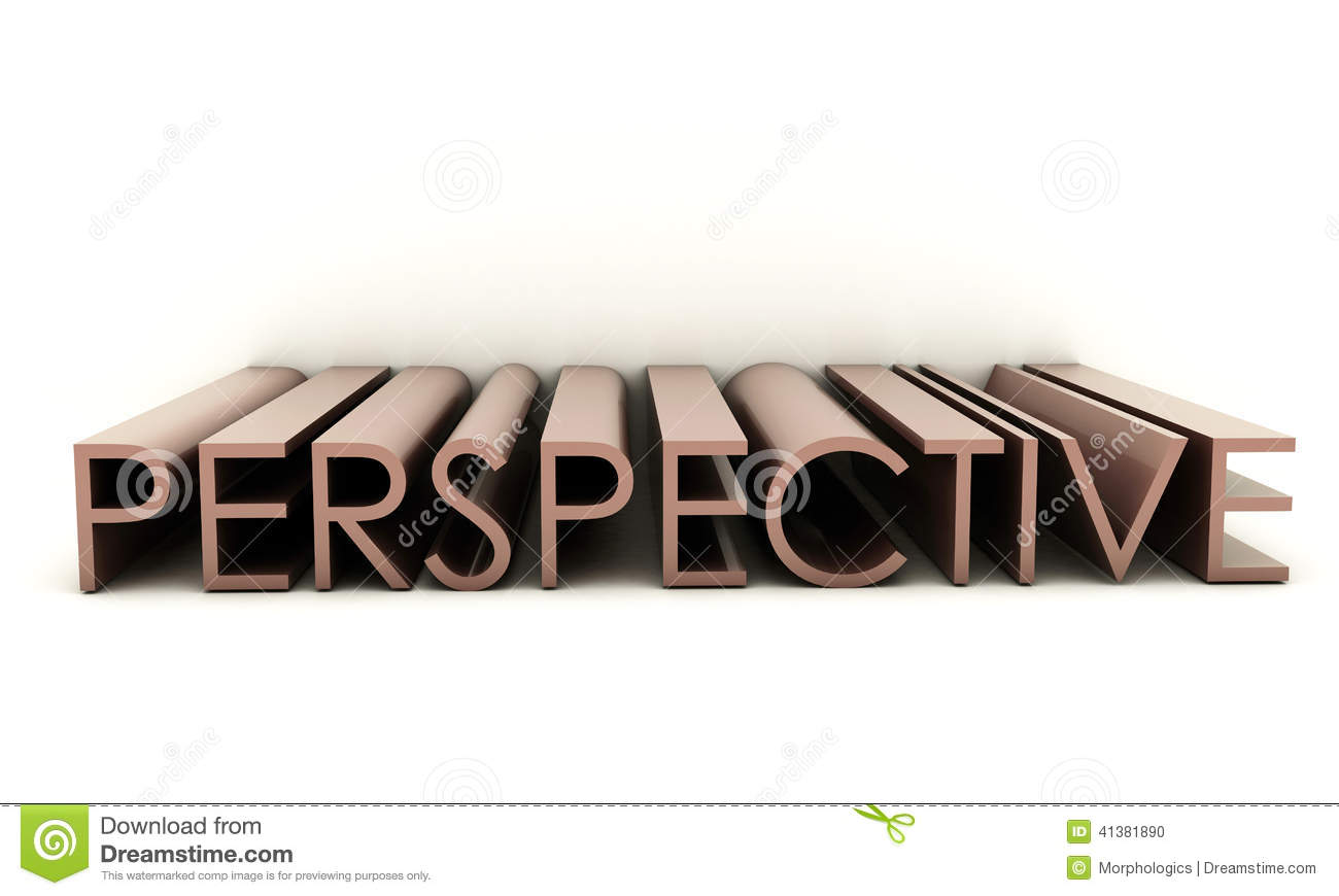 3d text with the word perspective isolated on white background.