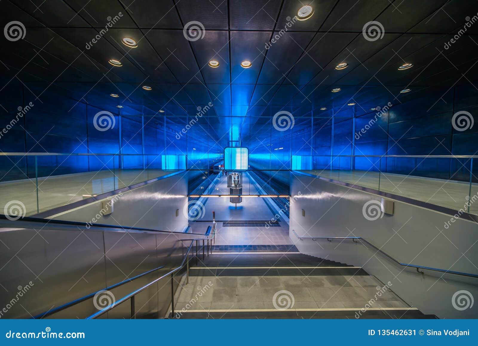 Perspective de Hambourg de métro de HafenCity U-Bahn