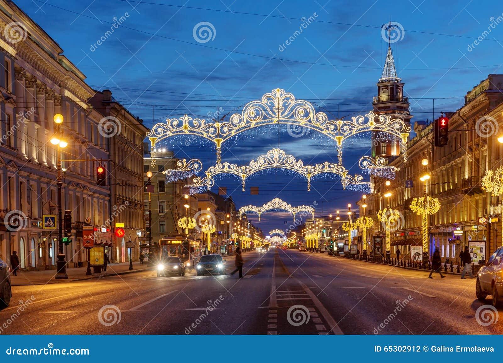 Perspective De Nevsky Avec La Douma De Ville De St Petersbourg ...