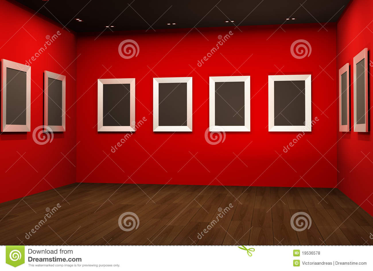 perspective of empty frames on red walls