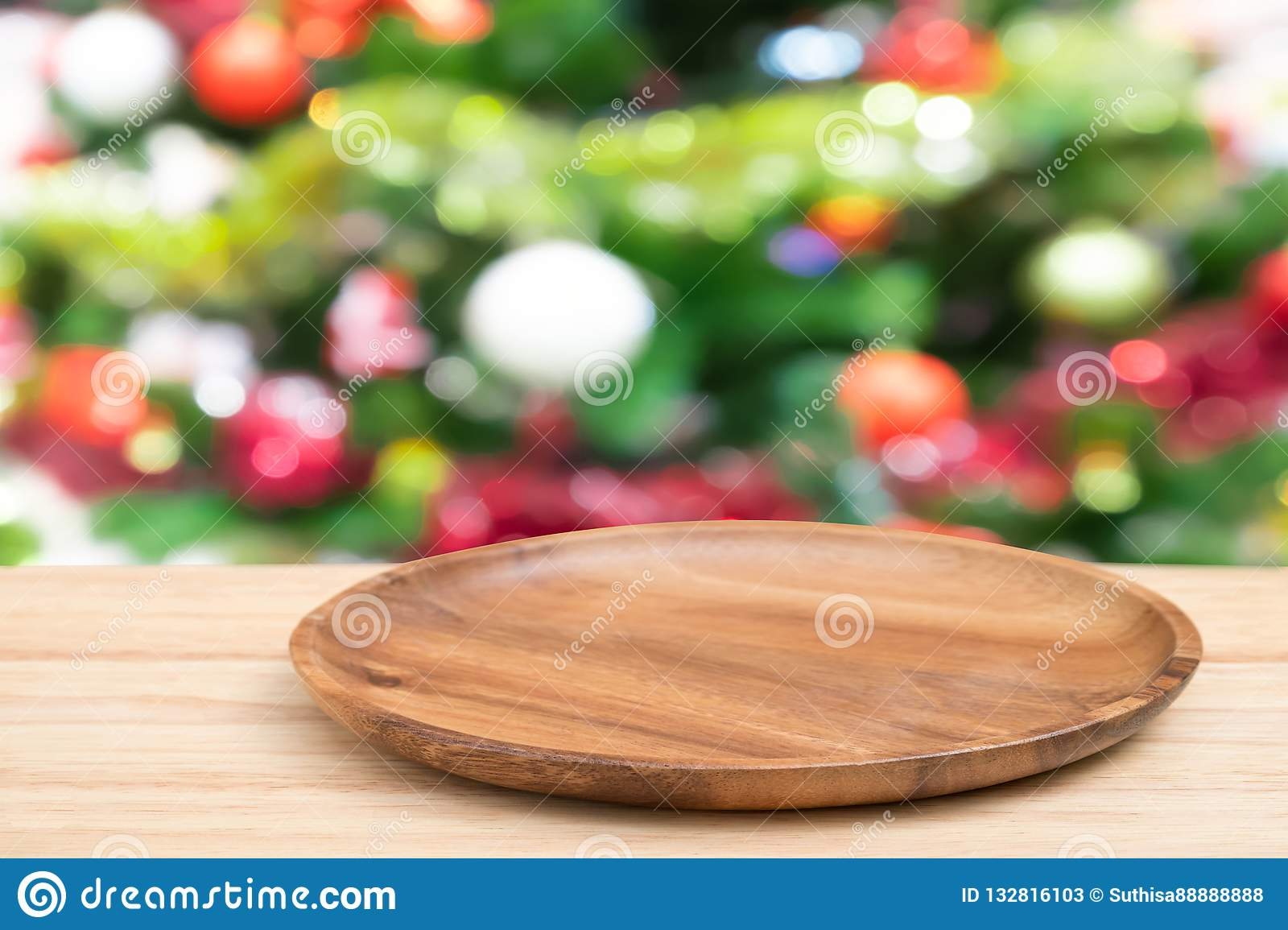 Perspective Empty Wooden Tray Table And Christmas Tree Blur ...