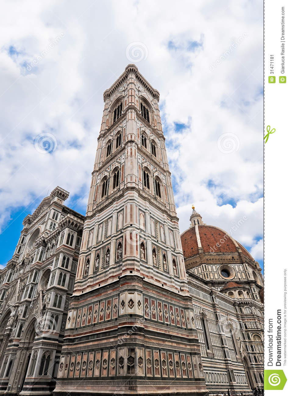 The Perspective Of The Giotto Bell Tower In Florence Stock