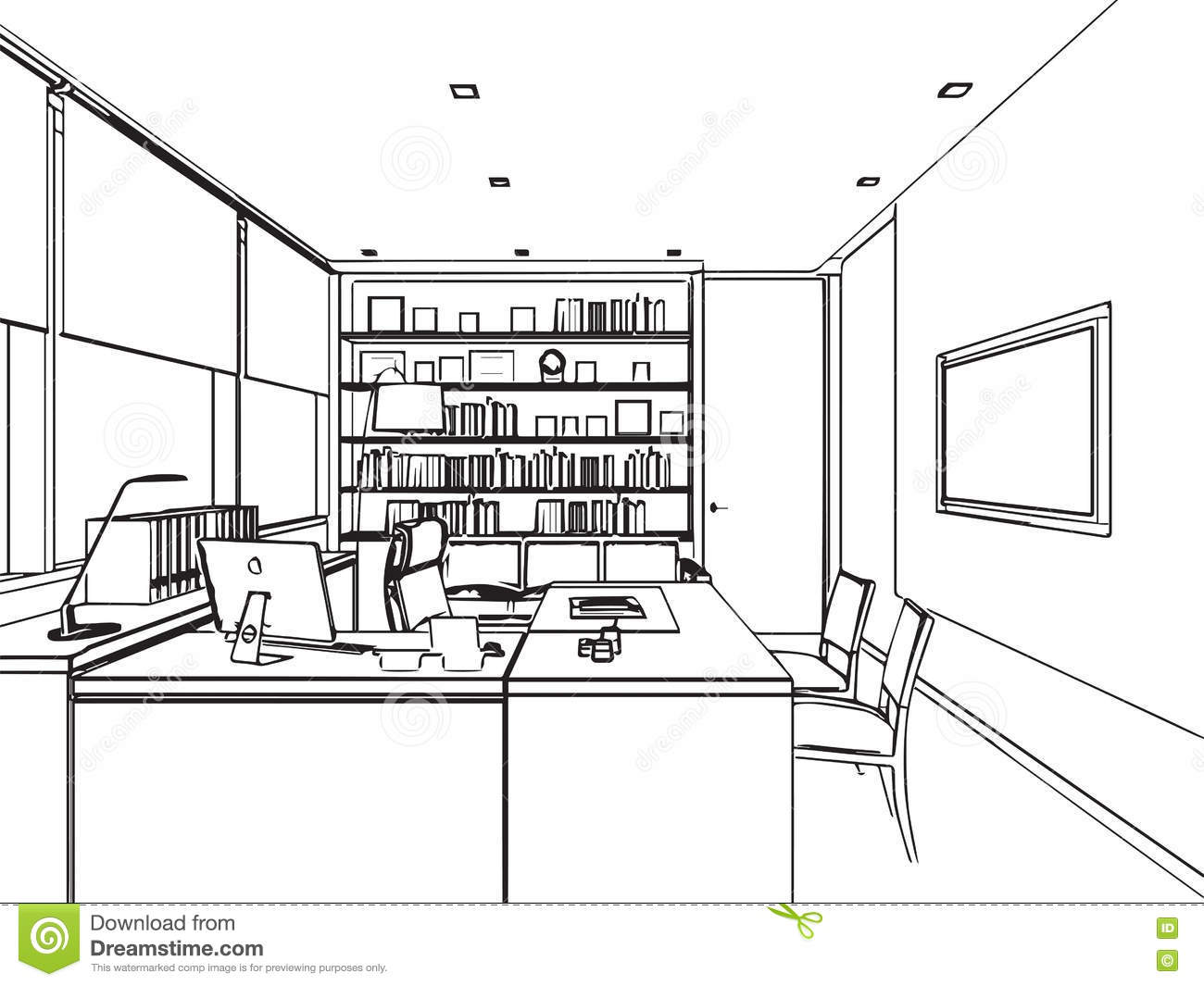 perspective int rieure de dessin de croquis d 39 ensemble d 39 un bureau de l 39 espace illustration de. Black Bedroom Furniture Sets. Home Design Ideas
